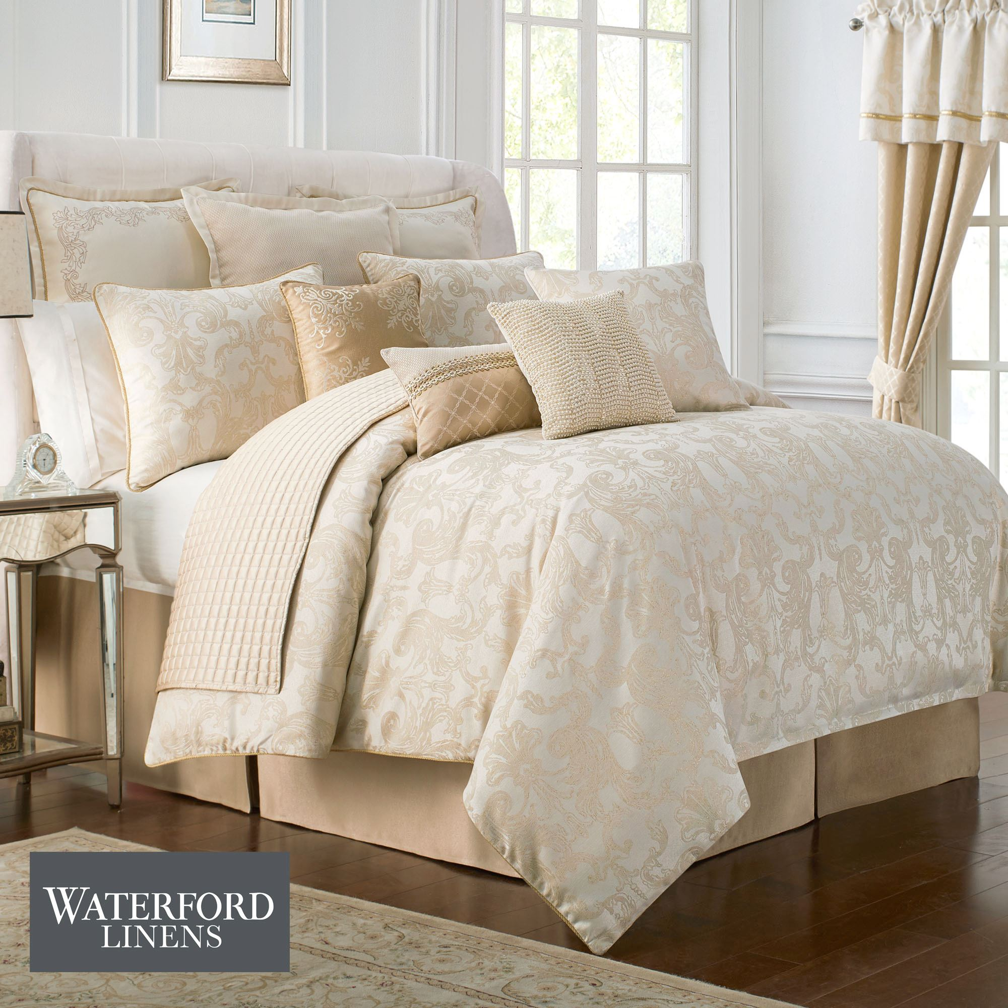 Britt Gold And Cream Comforter Bedding From Waterford Linens
