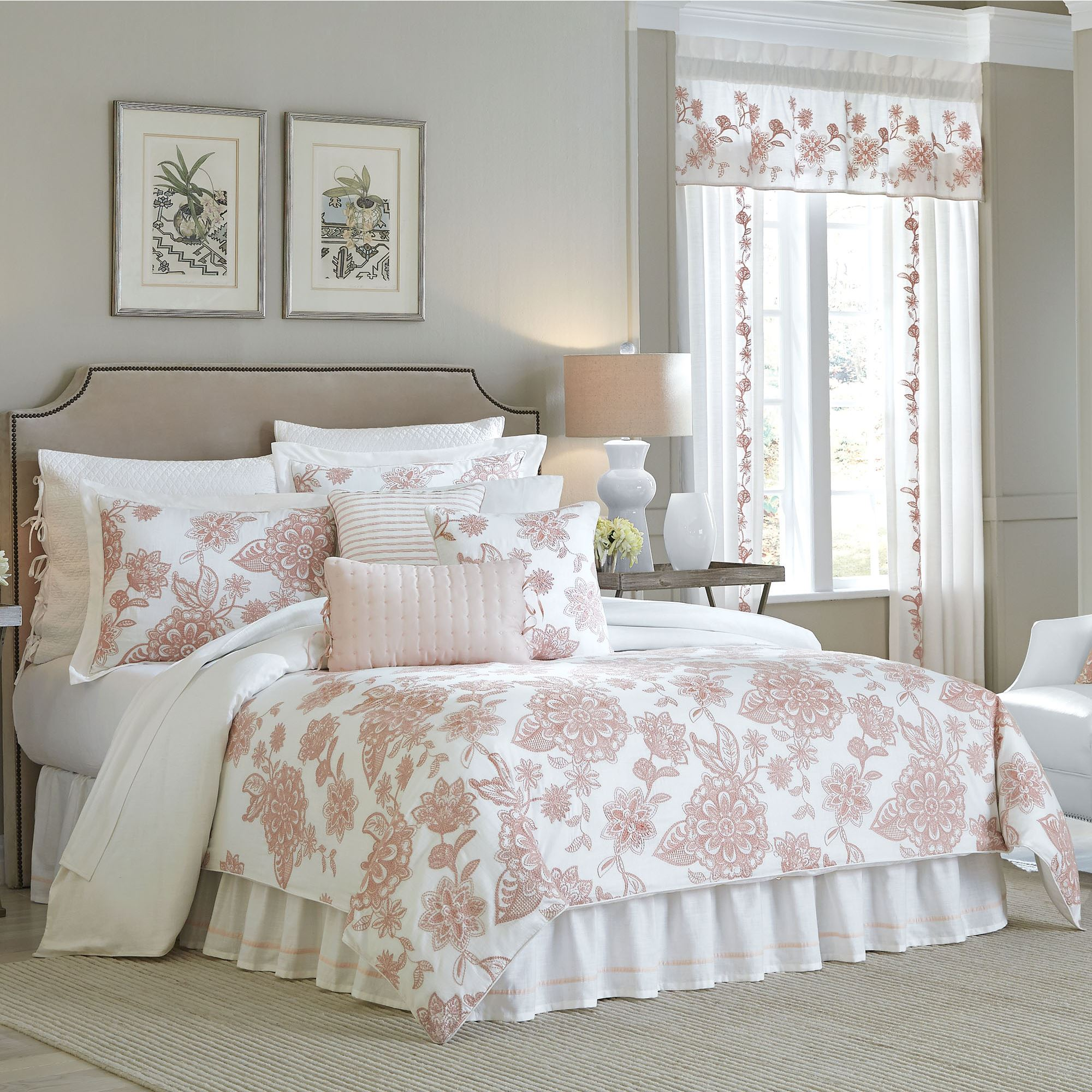 begonia mono monogrammed and dahlia graphics coral or products aqua bedding floral set comforter duvet pink navy