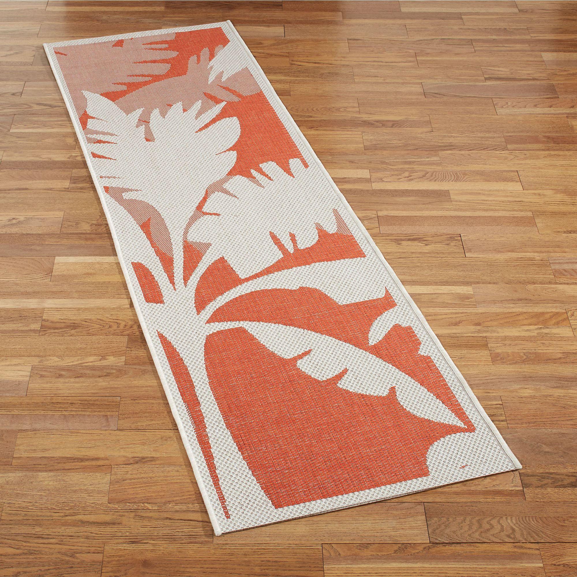 Koa Coral Tropical Palm Tree Indoor Outdoor Rug Runner