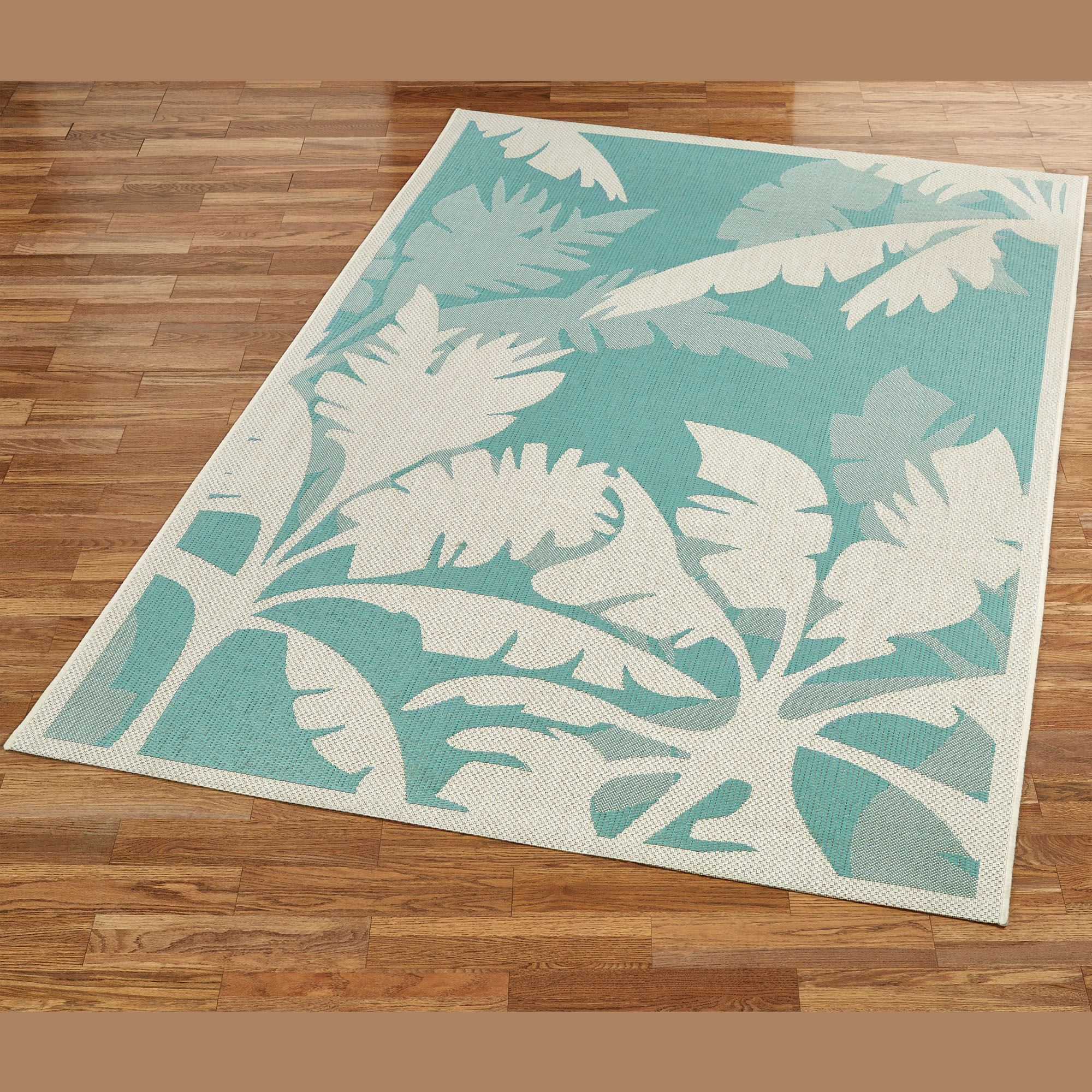 Koa Teal Tropical Palm Tree Indoor Outdoor Rugs