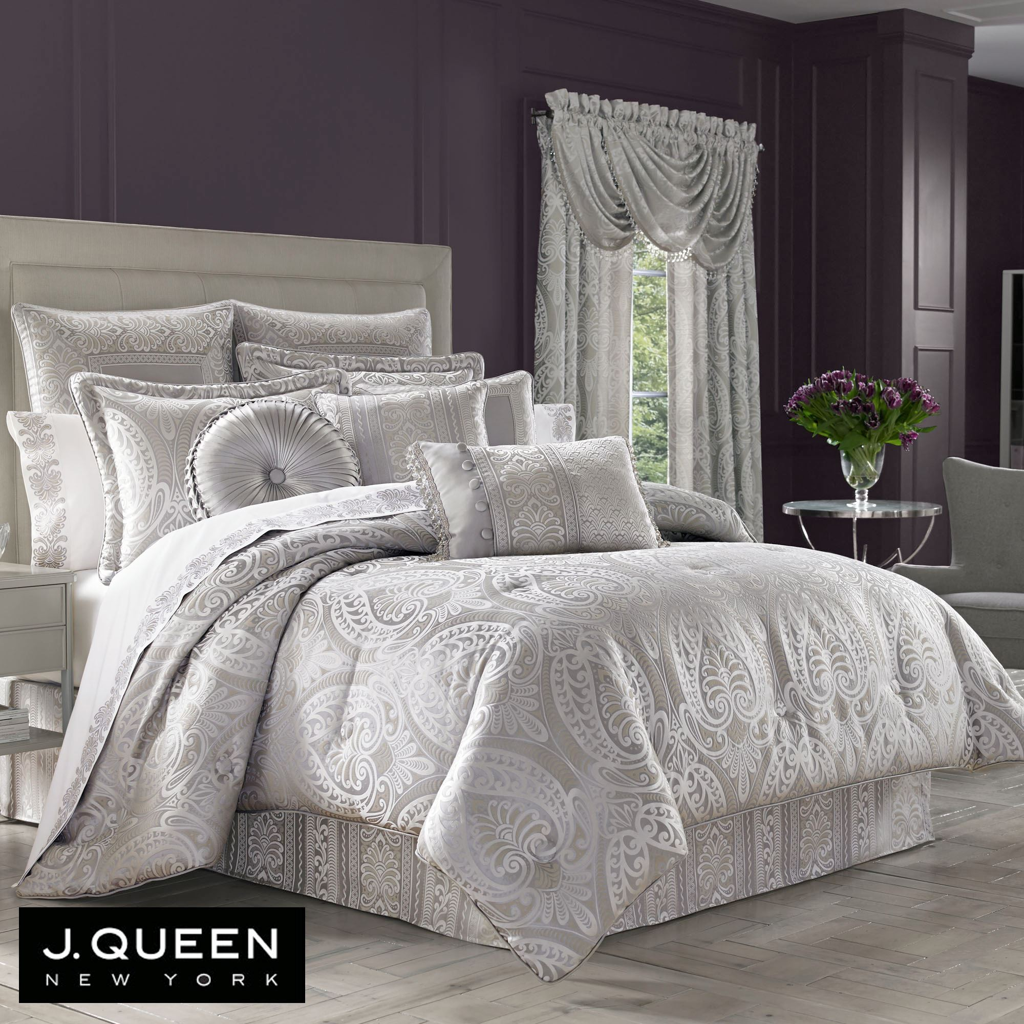 Le blanc silver comforter bedding by j queen new york - Bedroom sheets and comforter sets ...