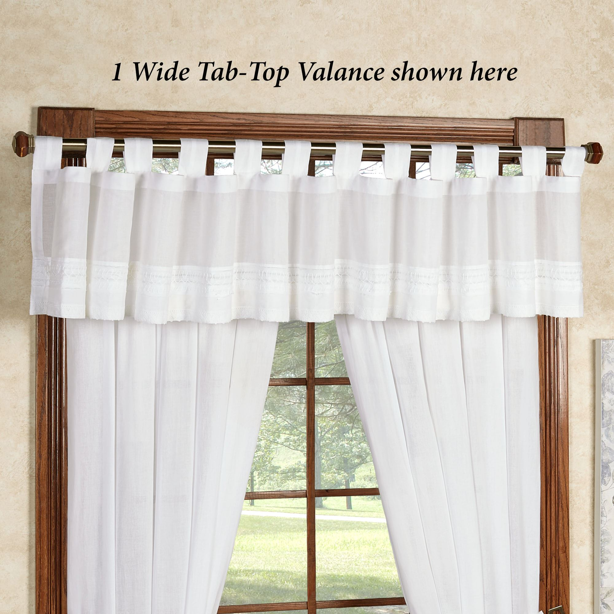 Jasmine Voile Wide Tab Top Valance Off White 90 X 16 Touch Of Class
