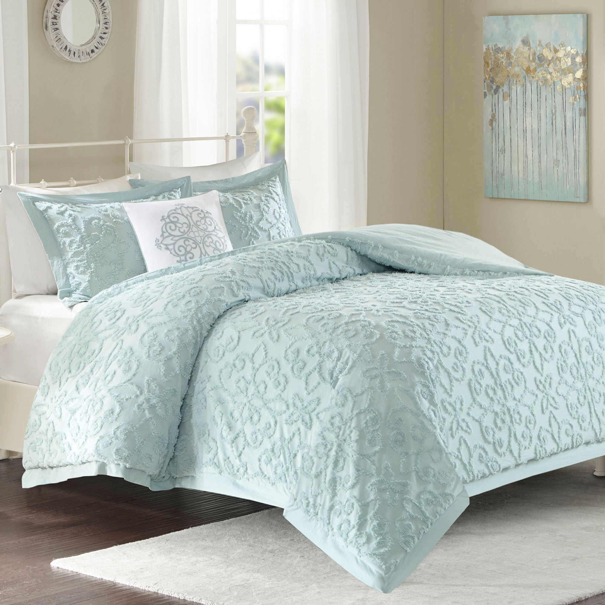 Lily Chenille Comforter Bed Set Pale Aqua. Click To Expand