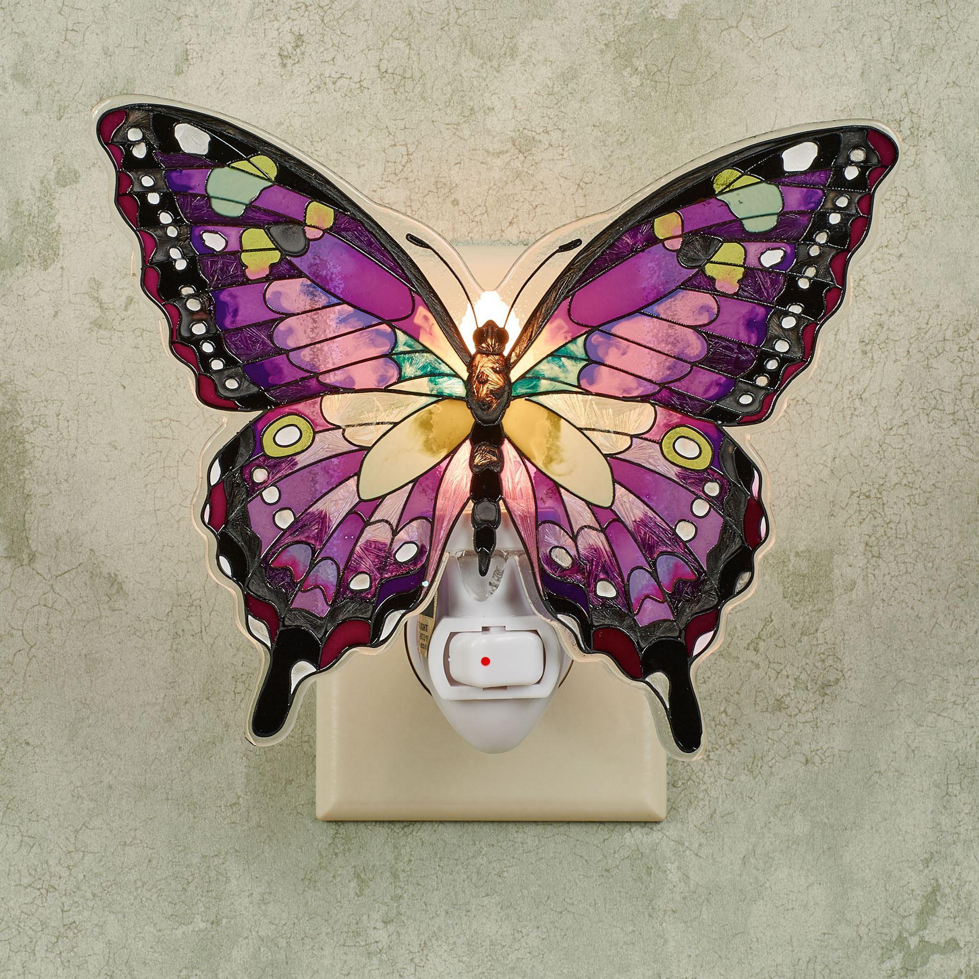 Purple Swallowtail Glass Butterfly Nightlight