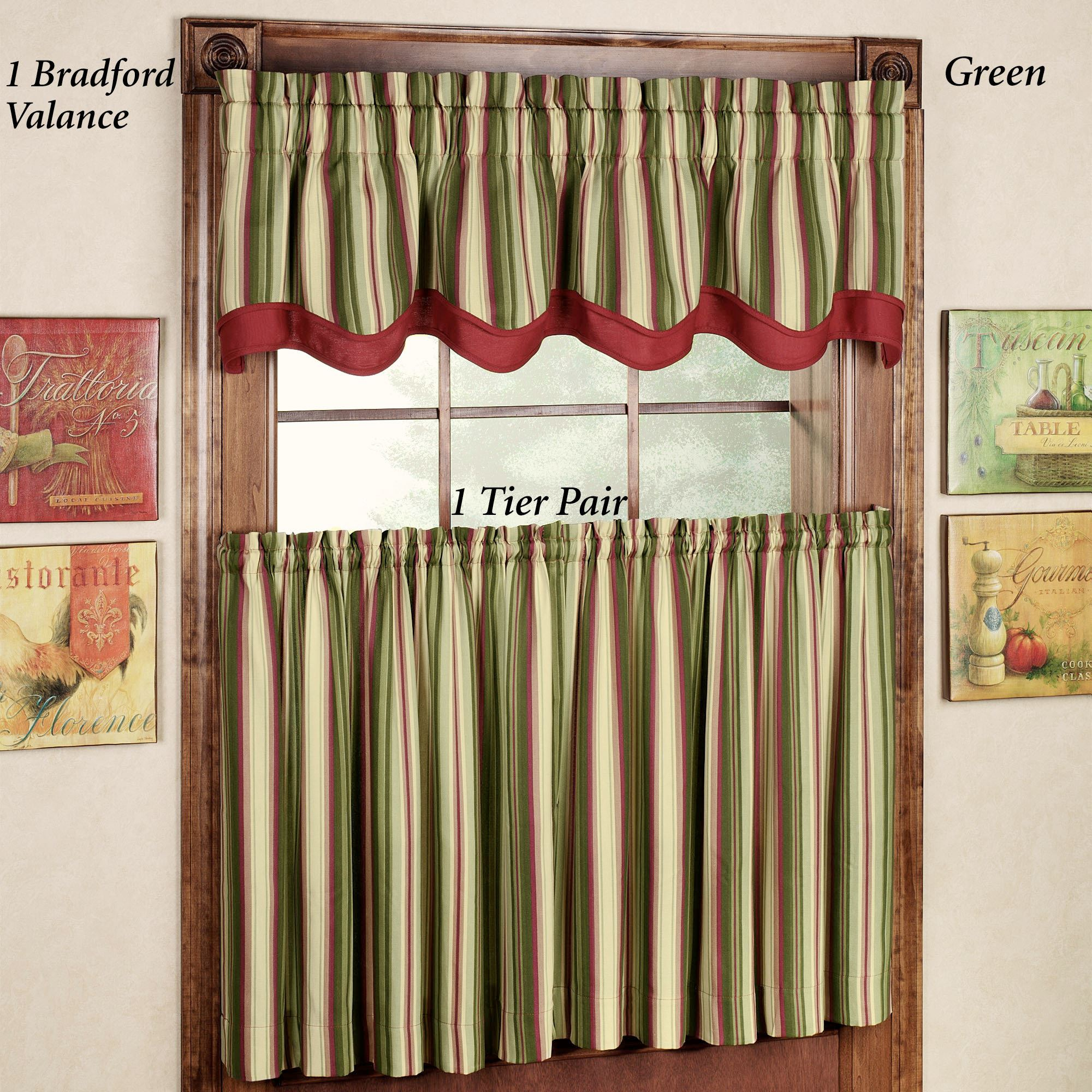 Montego Stripe Lined Scalloped Valance: Montego Stripe Tier Window Treatment