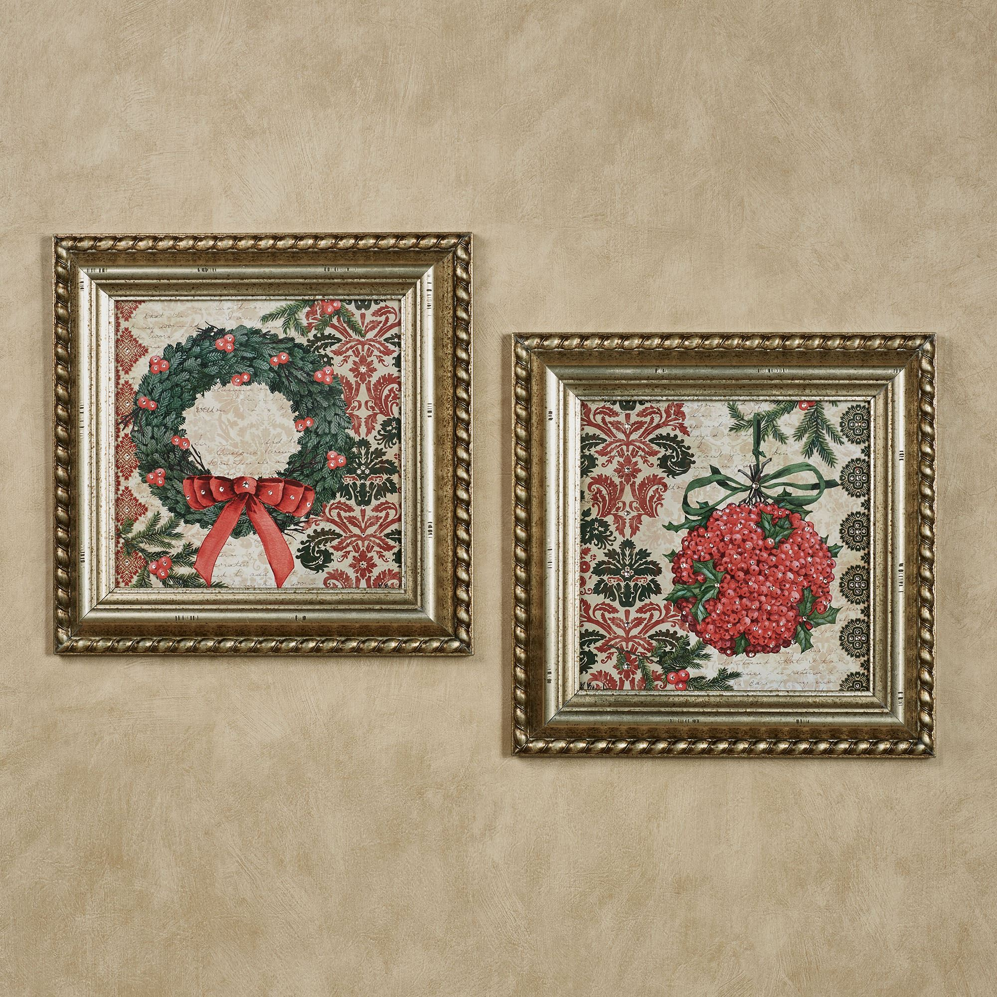 Elegant Christmas Framed Wall Art Set