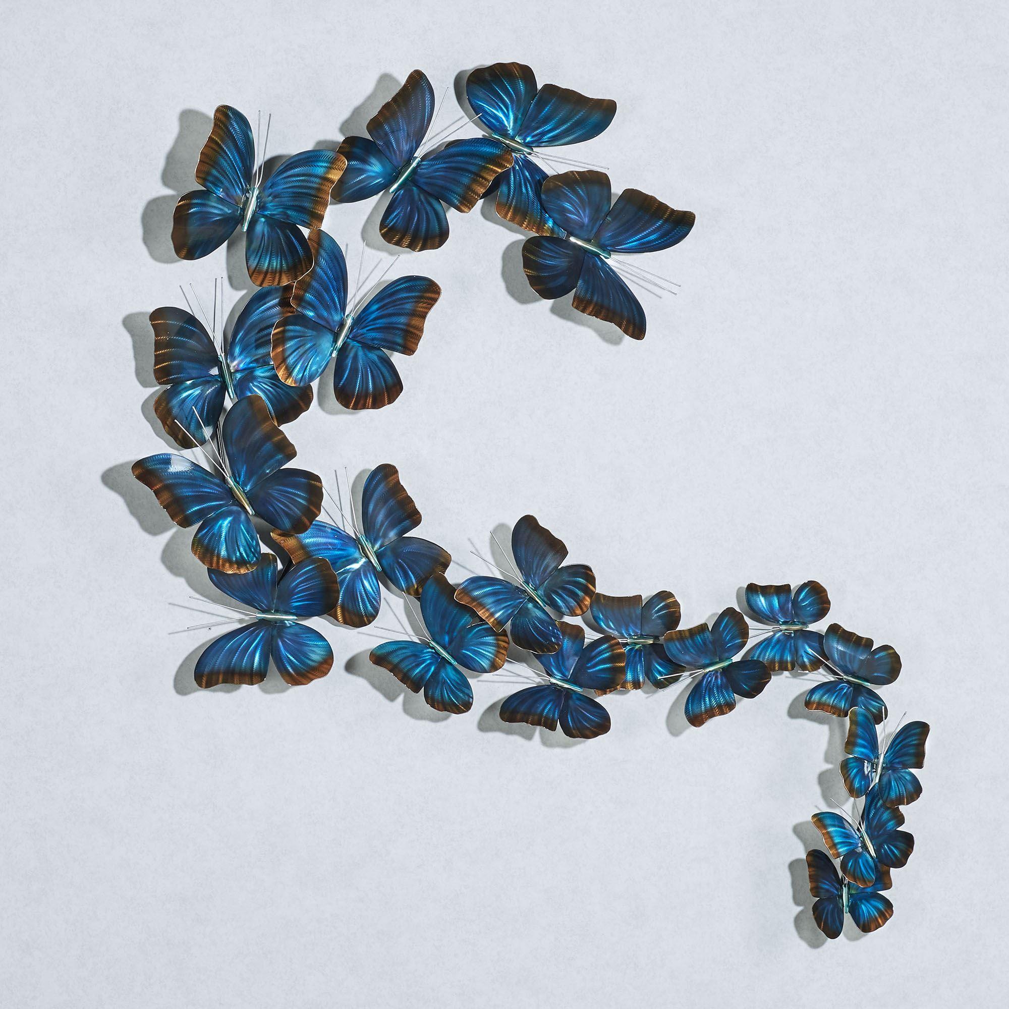 Blue Butterflies In Flight Indoor Outdoor Metal Wall Sculpture