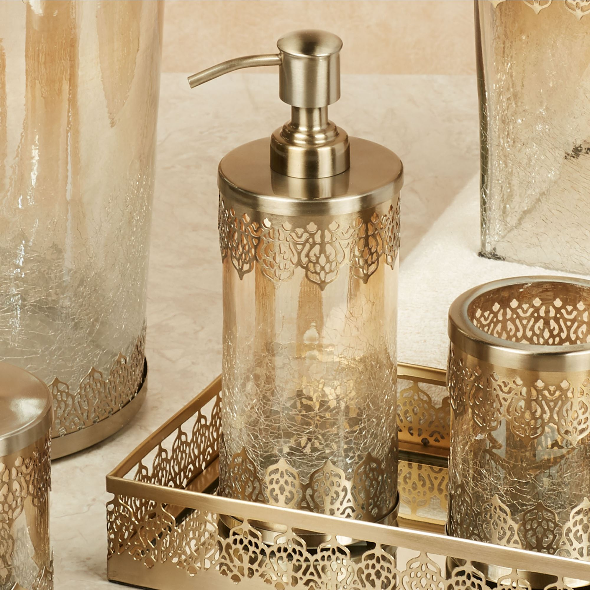 Ingrid Brushed Gold Metal And Glass Bath Accessories By J Queen New York