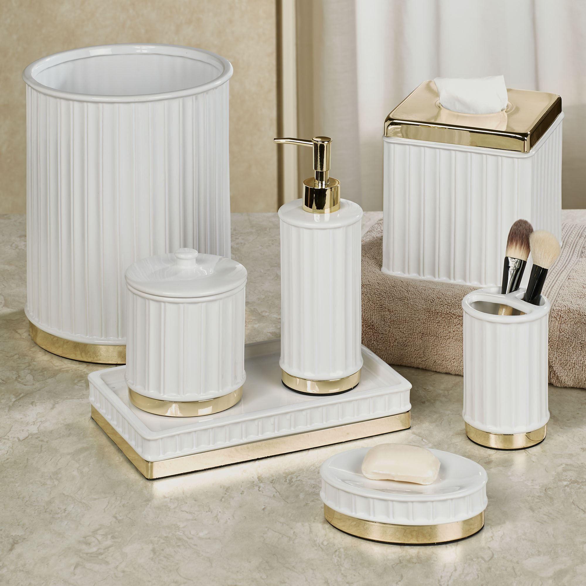 Panache White And Gold Bath Accessories