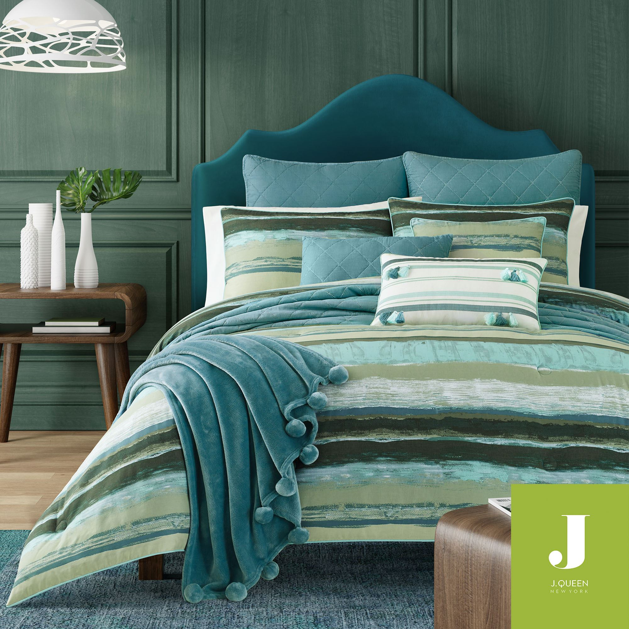 Cordoba Forest Striped Mini Comforter Set From J By J Queen New York