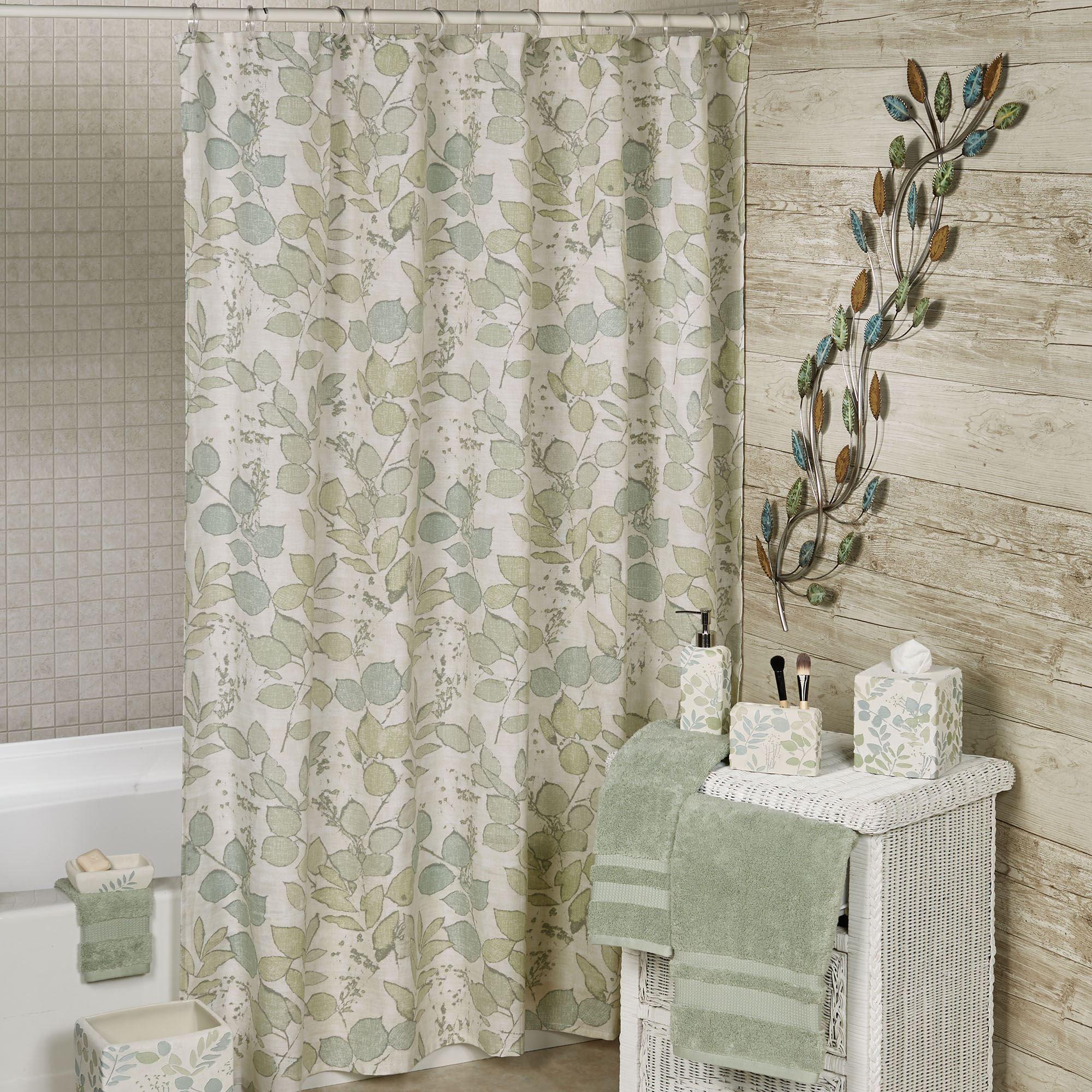 Springtime Botanical Leaf Shower Curtain