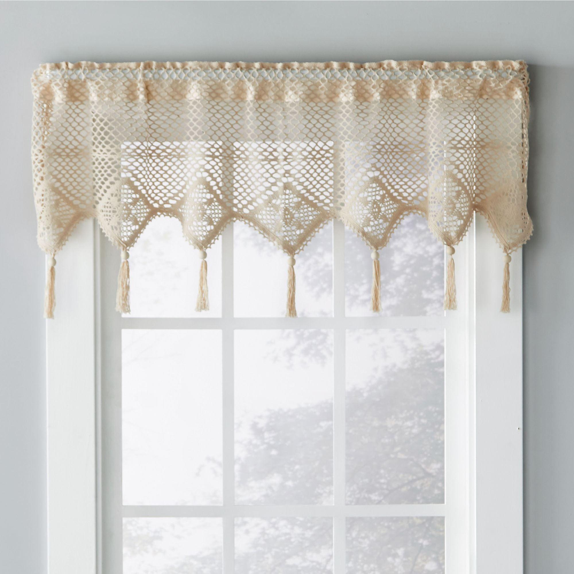 Boho Tasseled Crochet Window Valance