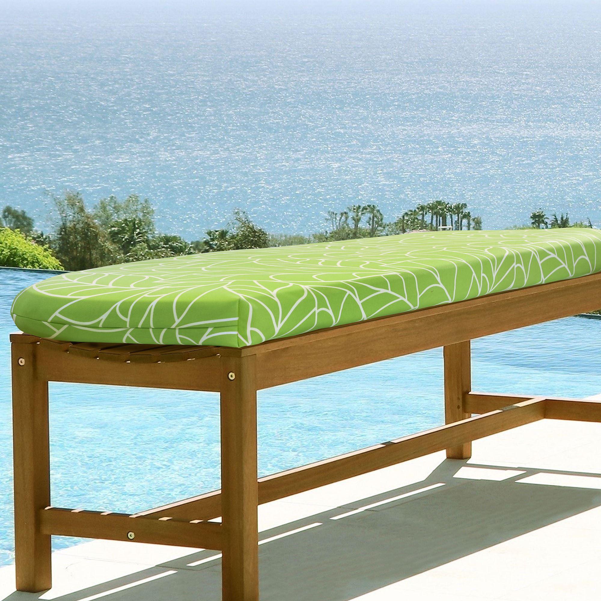 Awesome Avra Reversible Green Tropical Indoor Outdoor Bench Seat Cushion Creativecarmelina Interior Chair Design Creativecarmelinacom