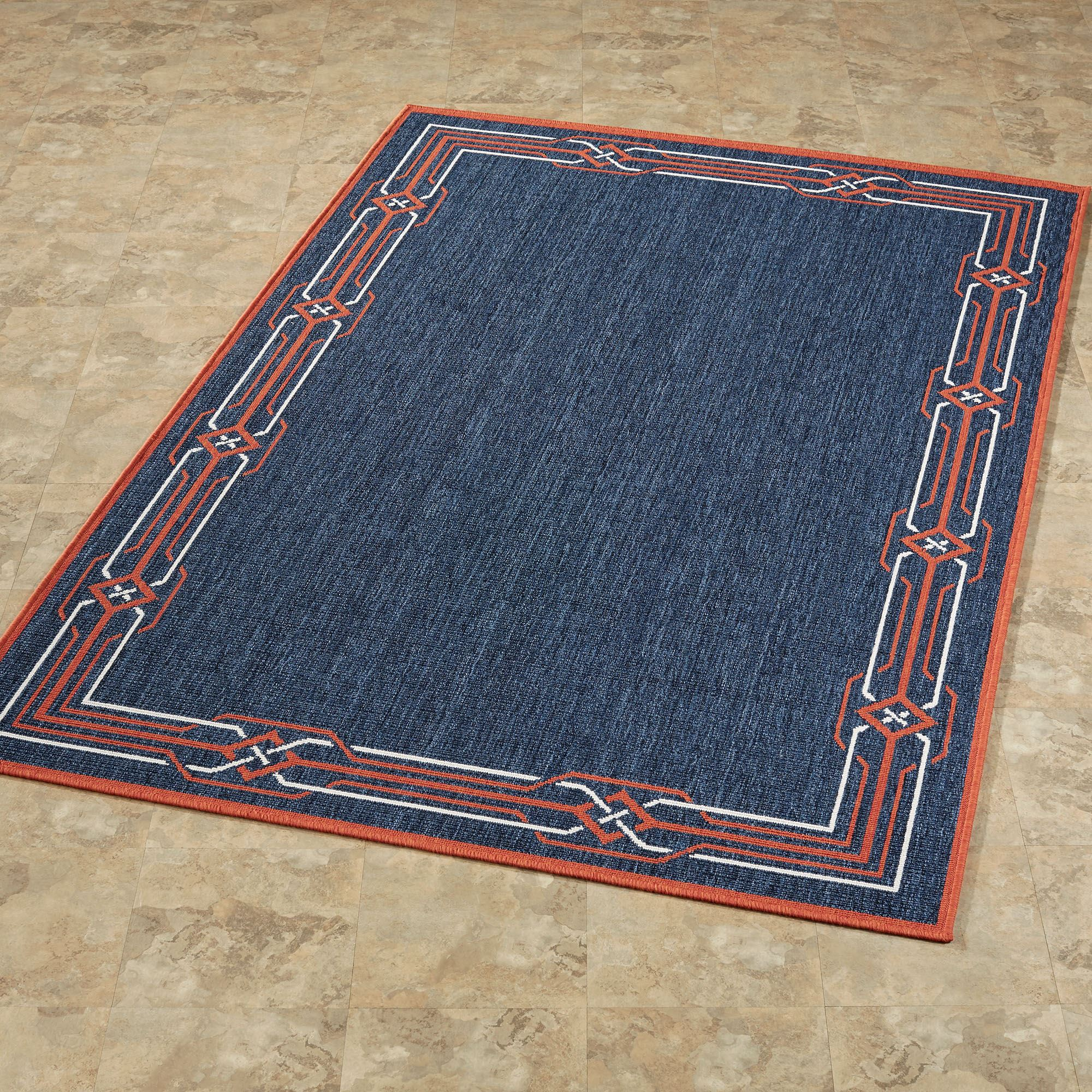 Nautical Border Navy Blue Indoor Outdoor Rugs