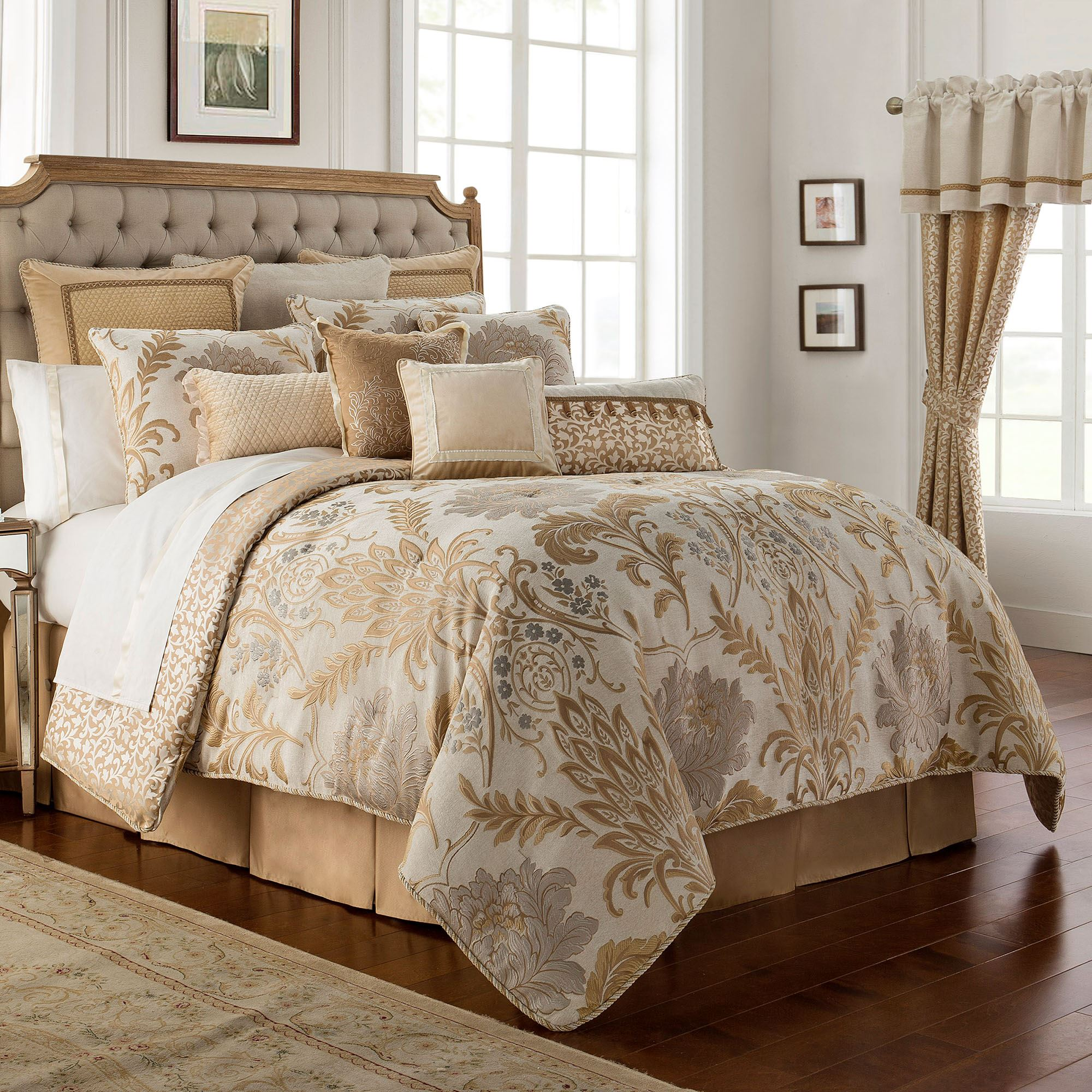Ansonia Gold Comforter Bedding By Waterford Linens