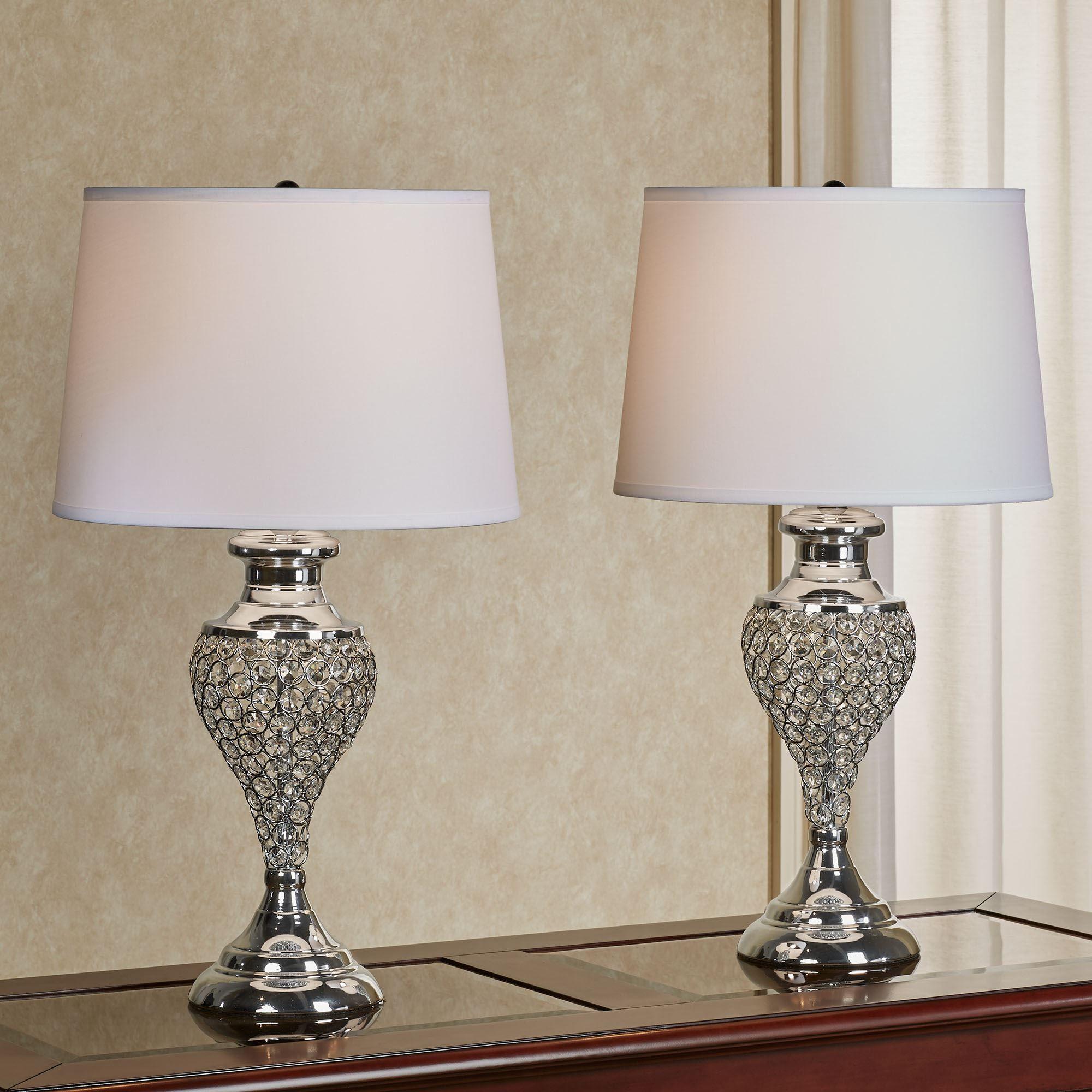 Katherine Crystal Bead Polished Chrome Metal Table Lamp Pair