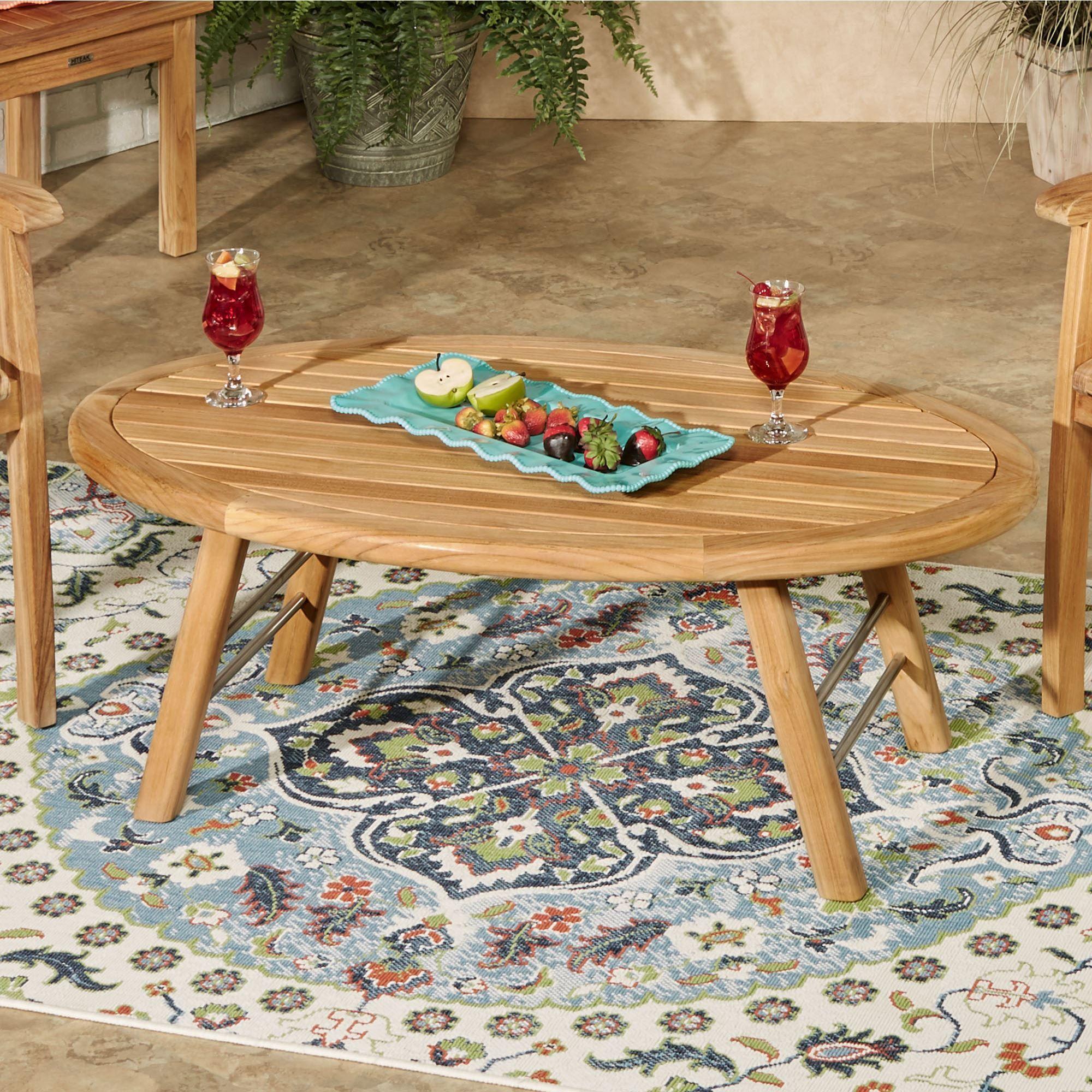 Oceana Teak Wood Indoor Outdoor Oval Coffee Table