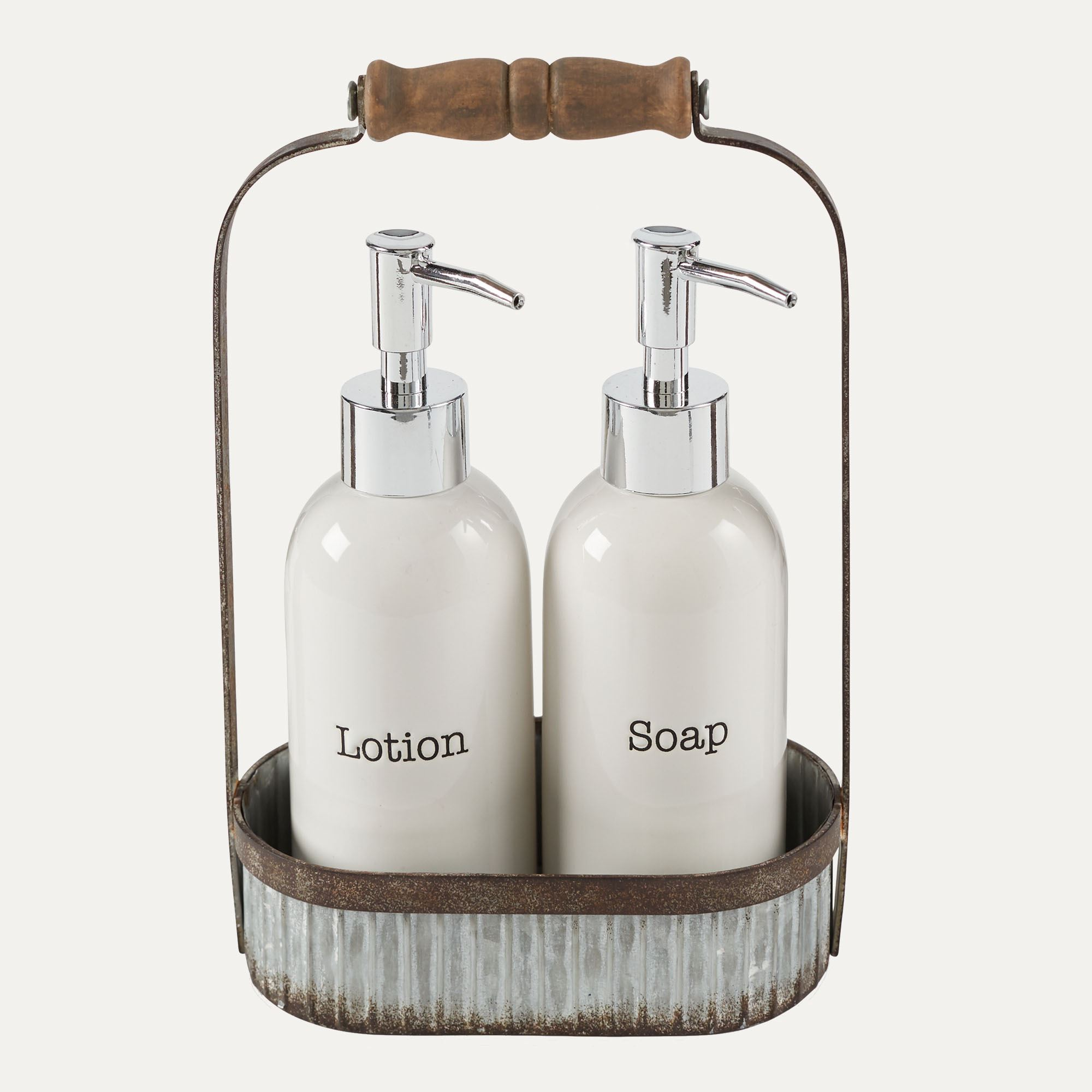Galvanized Tin Caddy With Ceramic Lotion And Soap Pumps Set