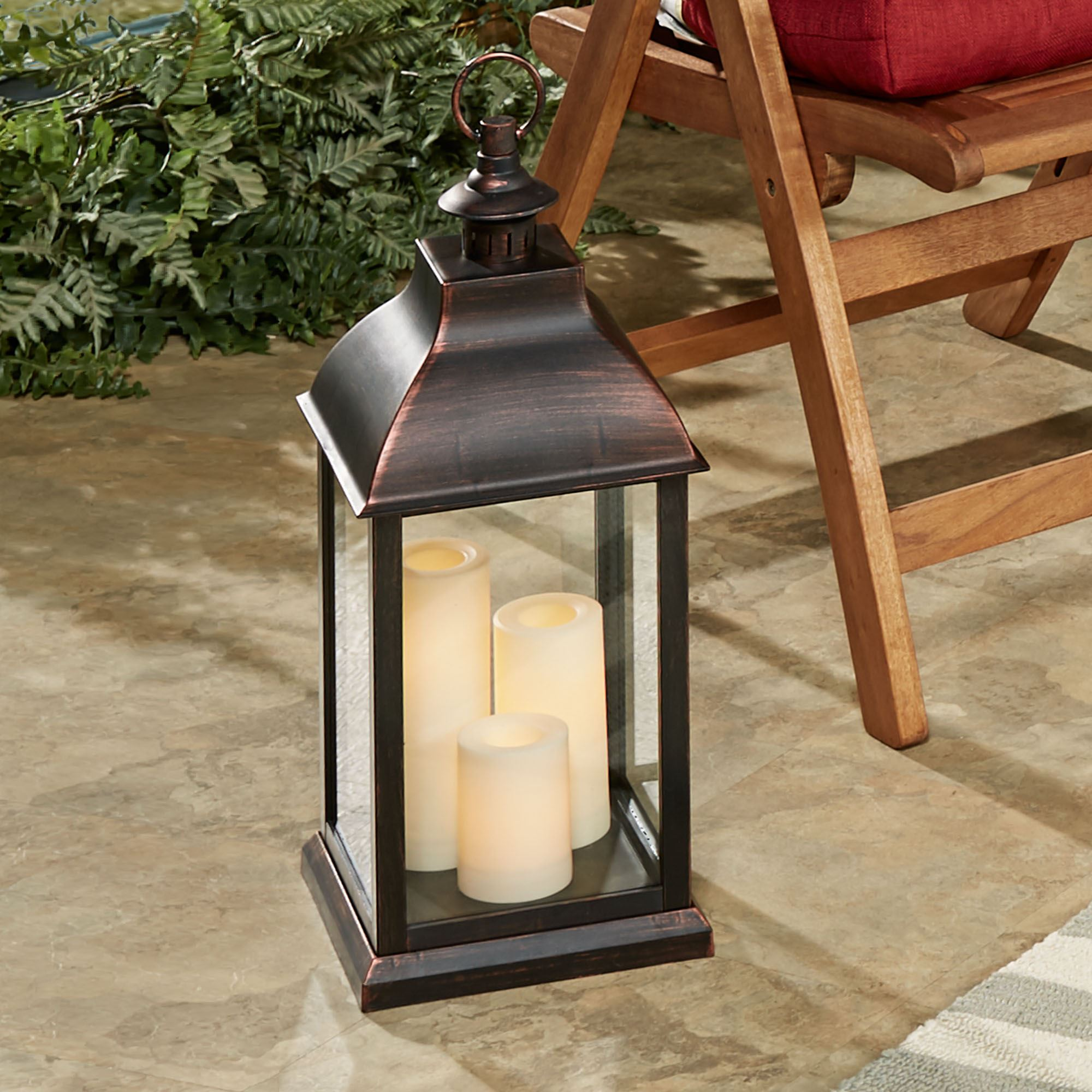 Beacon Hill Large Indoor Outdoor Lantern With Flameless