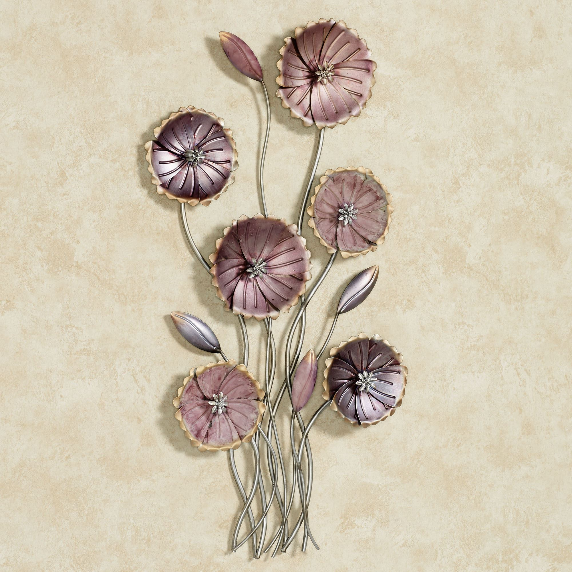 Charming Floral Array Purple Metal Wall Art