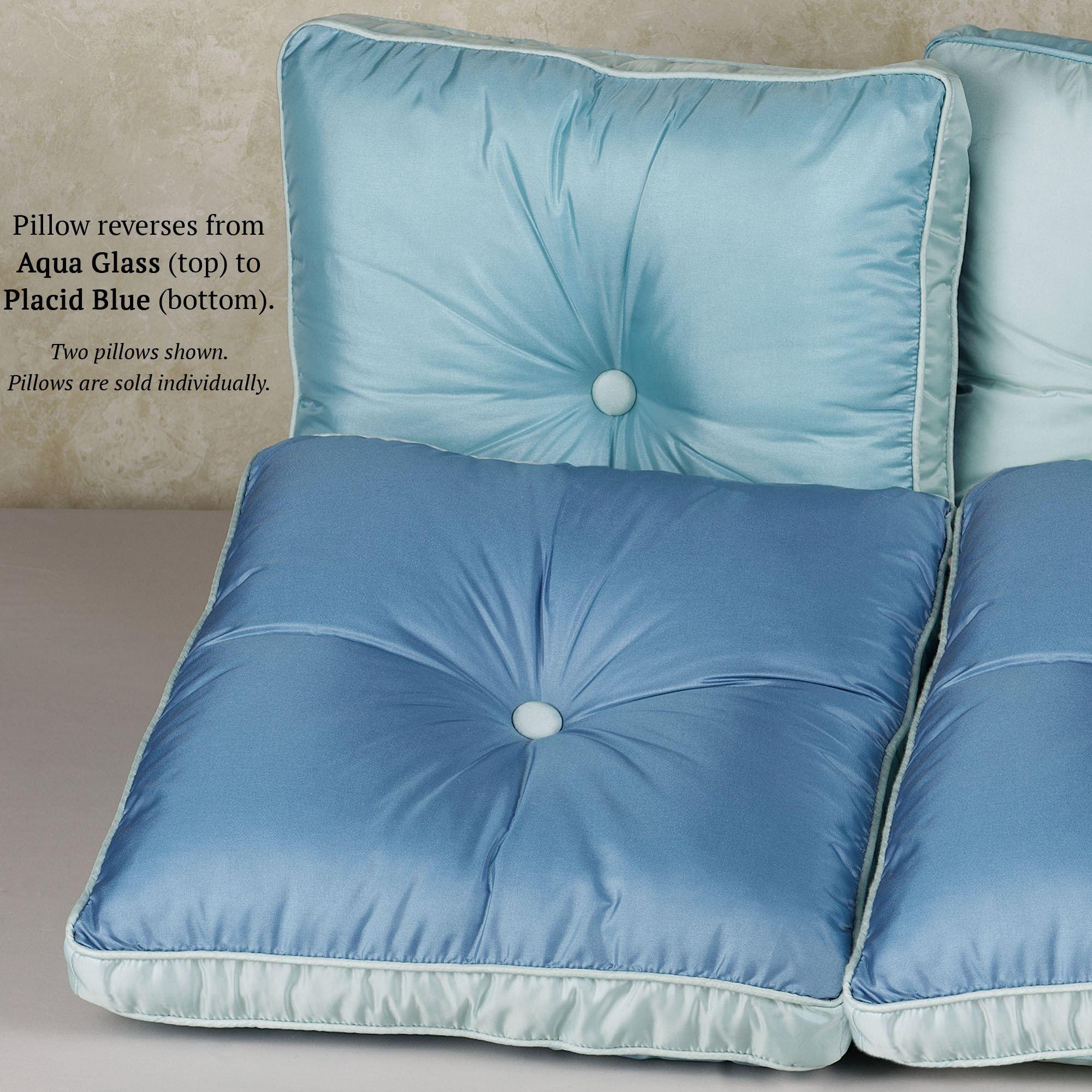 Laude Tufted Square Box Pillow Aqua