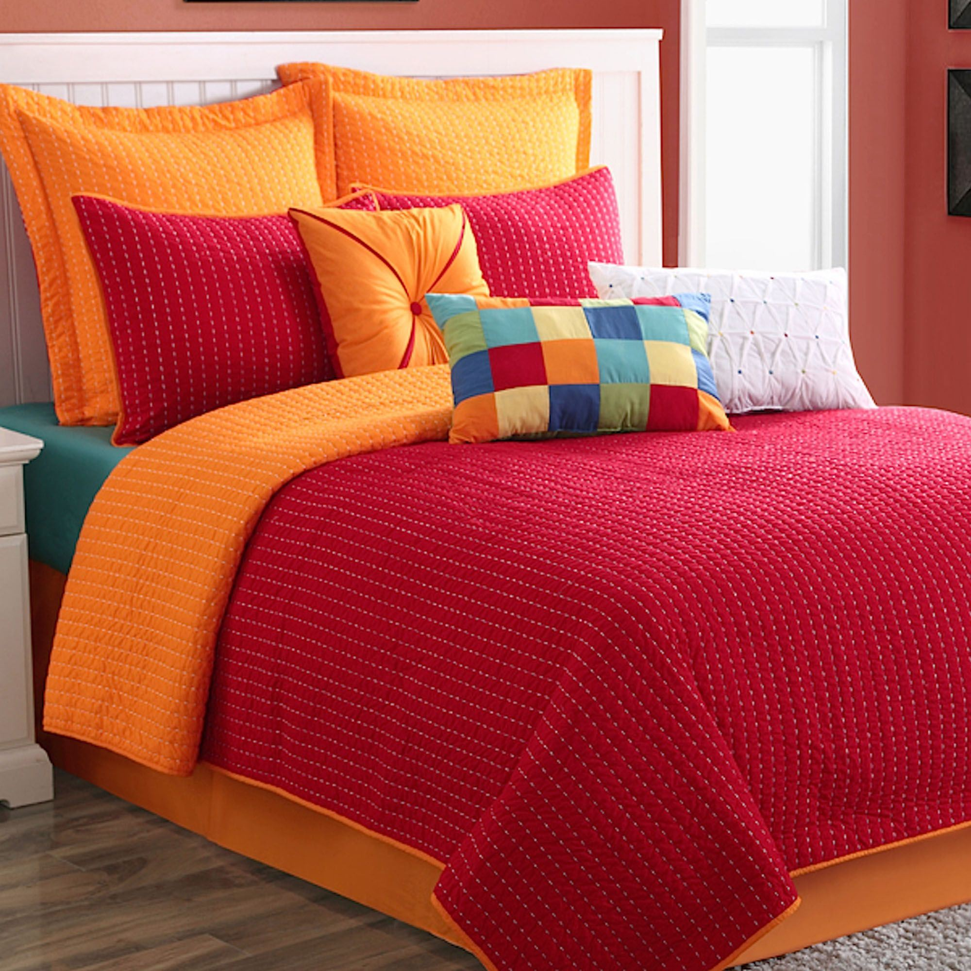 Nice Dash Red Orange Coverlet Set. Click To Expand
