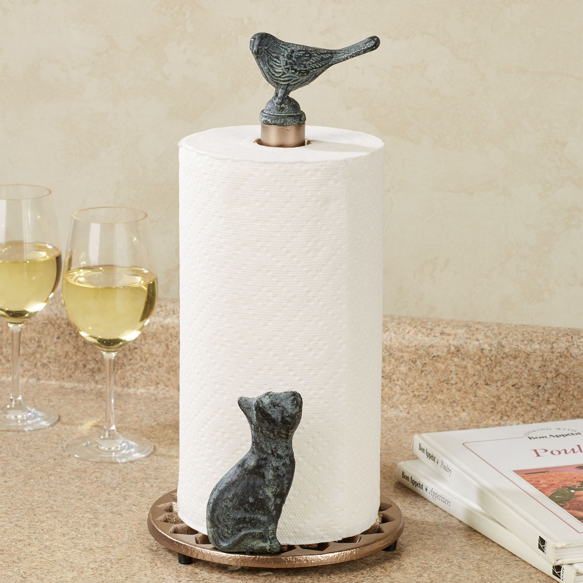 Cat and Bird Metal Paper Towel Holder