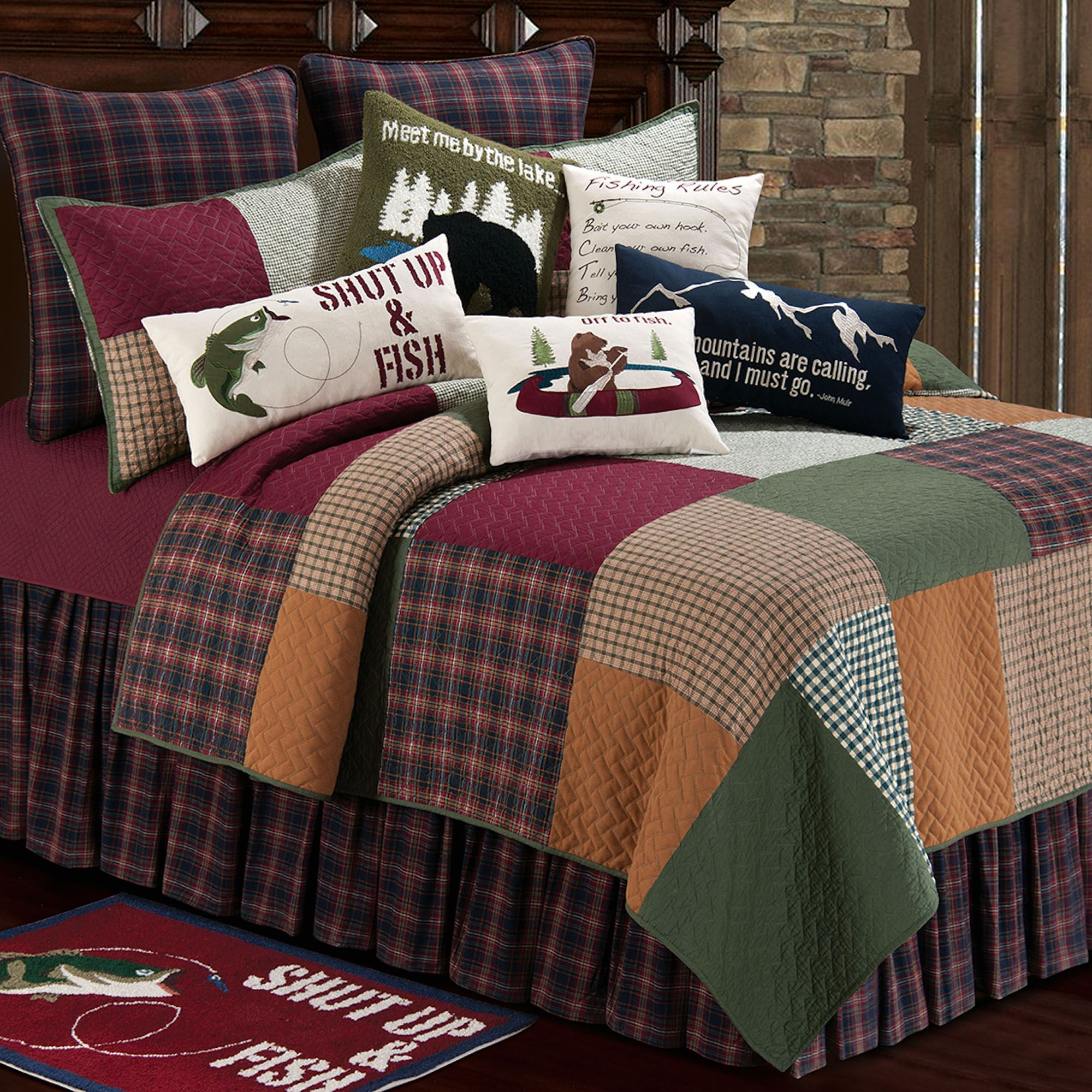 Gibson Lake Rustic Patchwork Quilt