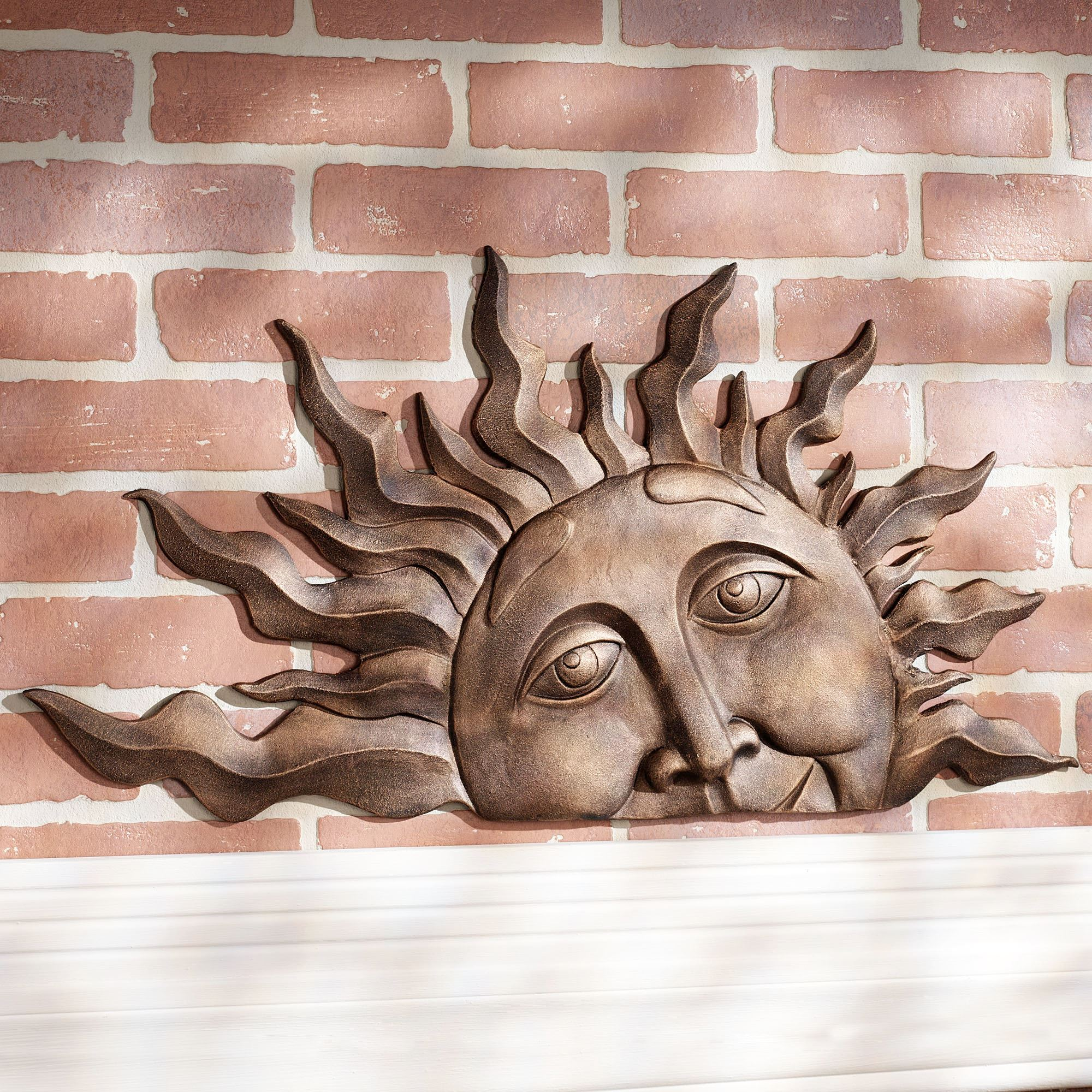 Half Sun Face Indoor Outdoor Metal Wall Plaque Art
