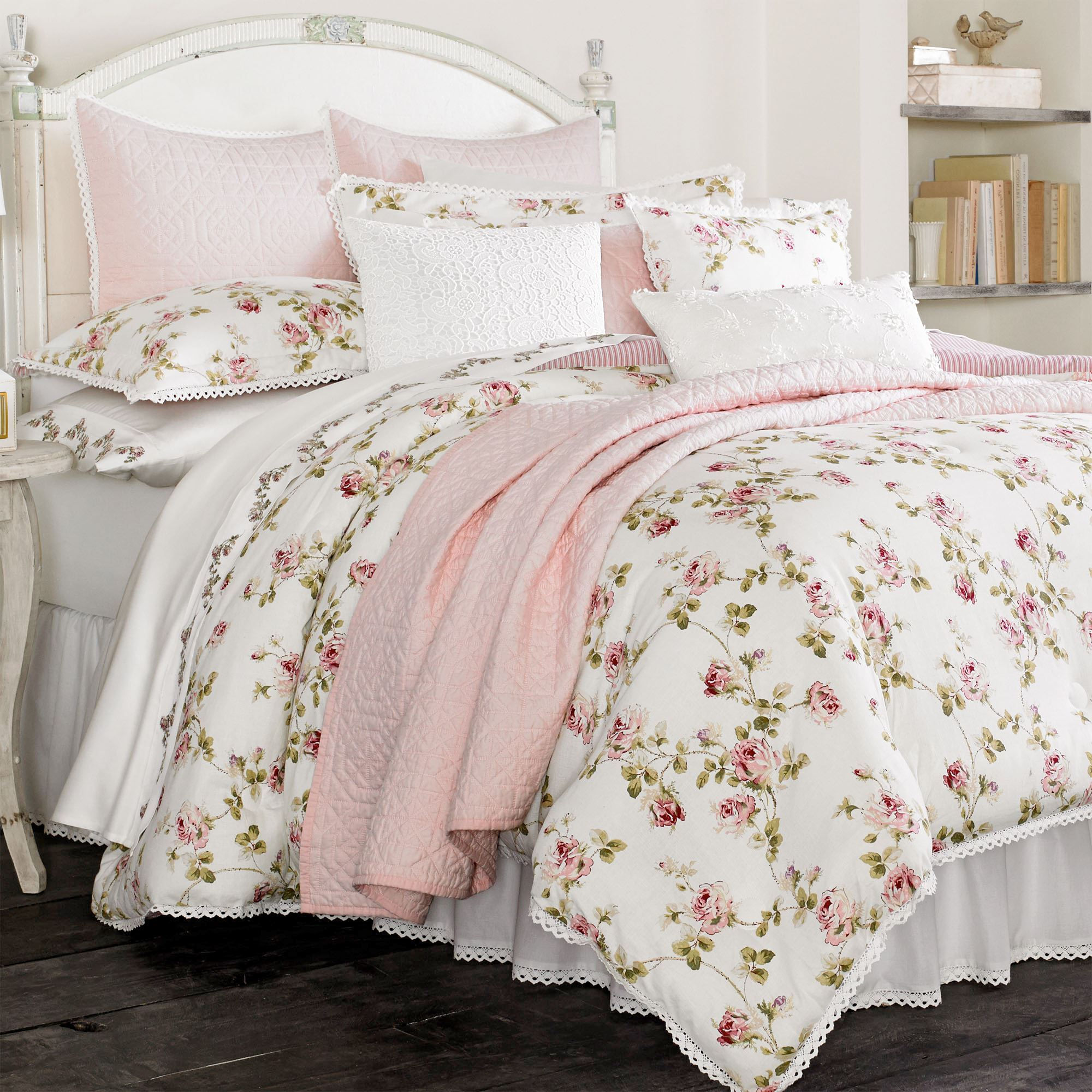 Rosalie pink floral comforter bedding by piper wright - Bedroom sheets and comforter sets ...