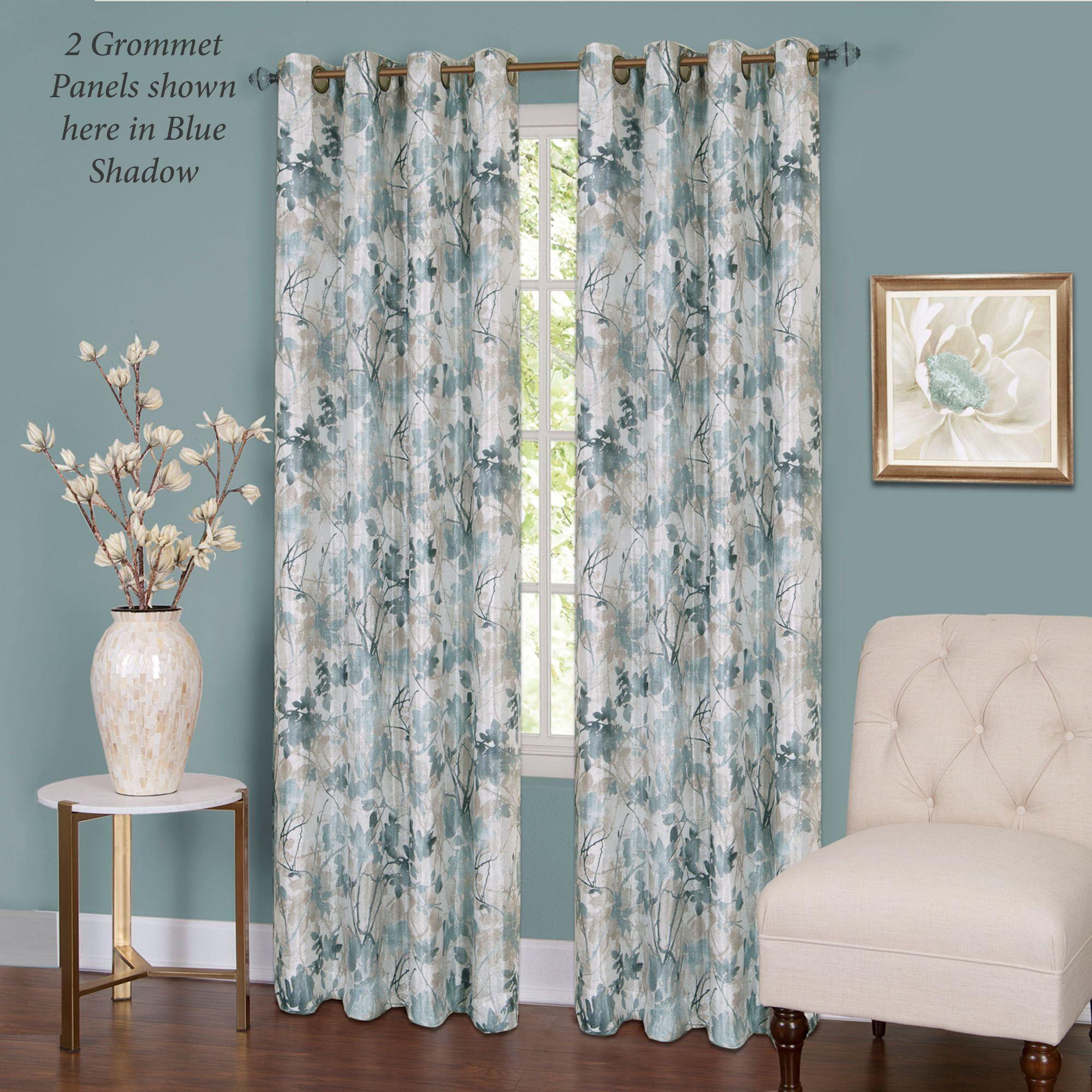 Blue And White Silk Stripe Curtain Panels