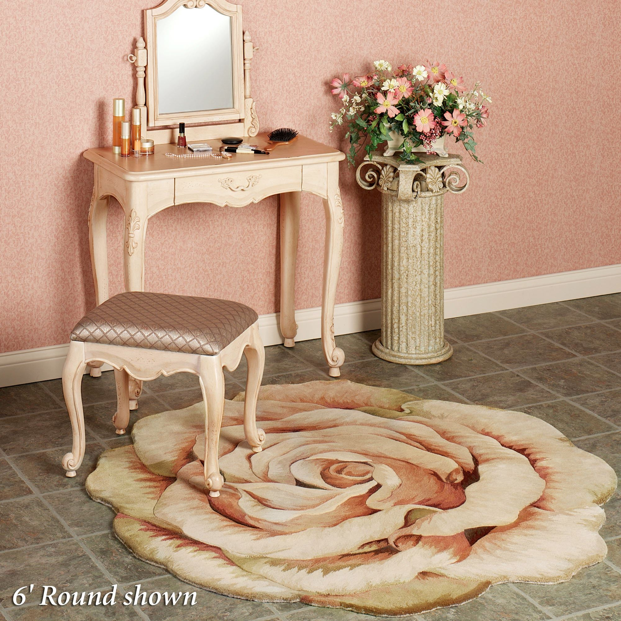 Rosine Cabbage Rose Flower Area Rug