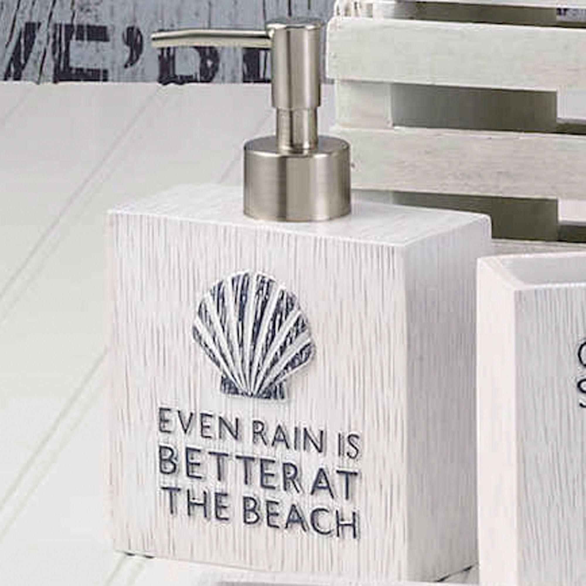 Beach Words Lotion Soap Dispenser Ivory