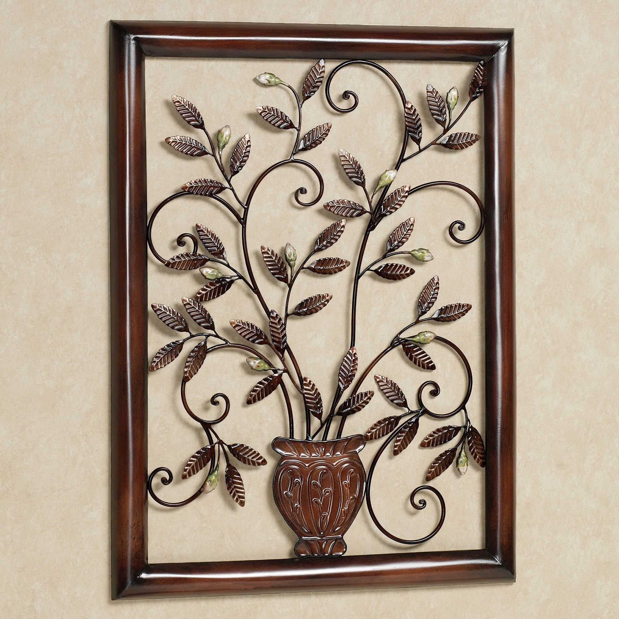Tosca floral metal wall sculpture for Brass wall art
