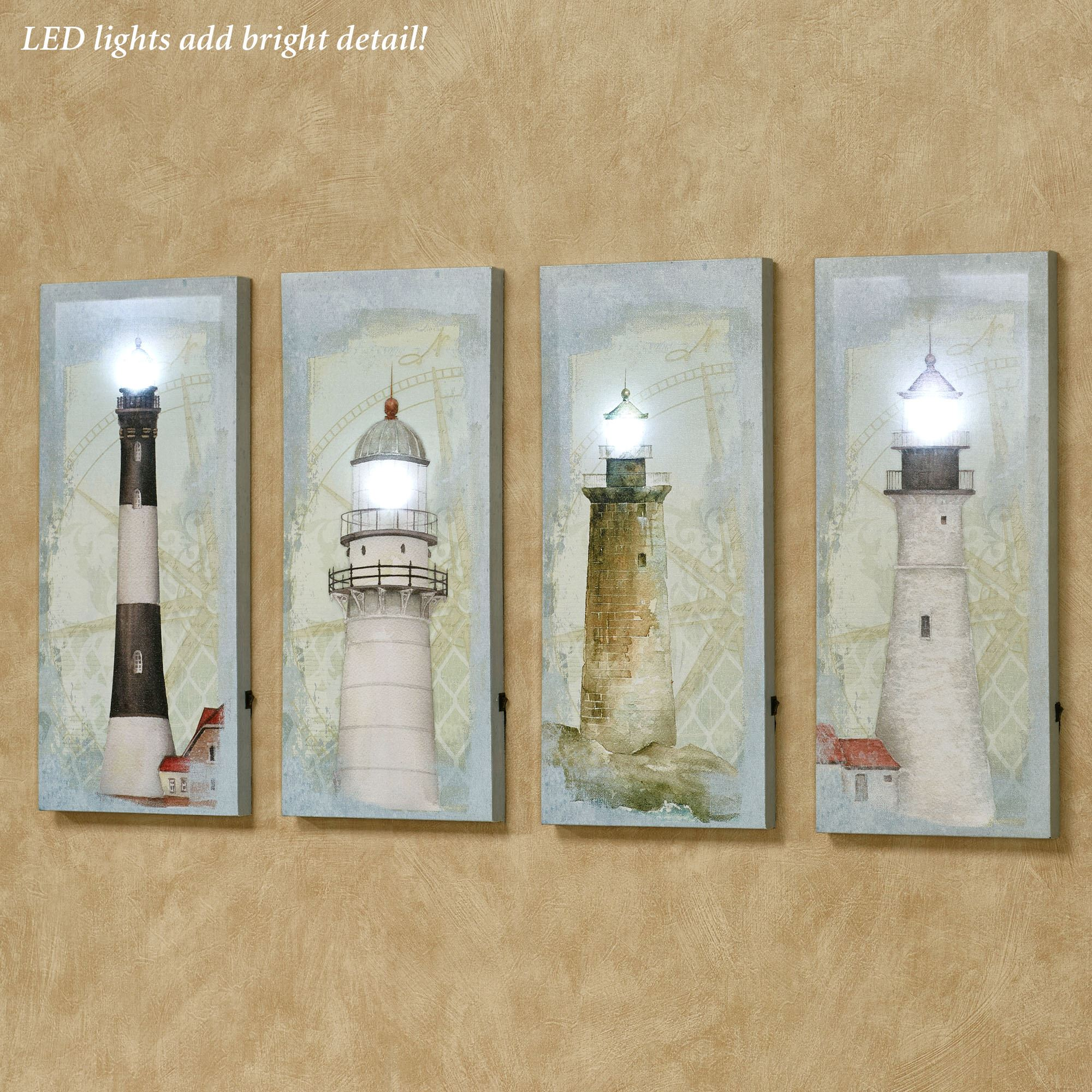Coastal Lighthouse LED Lighted Canvas Wall Art Set