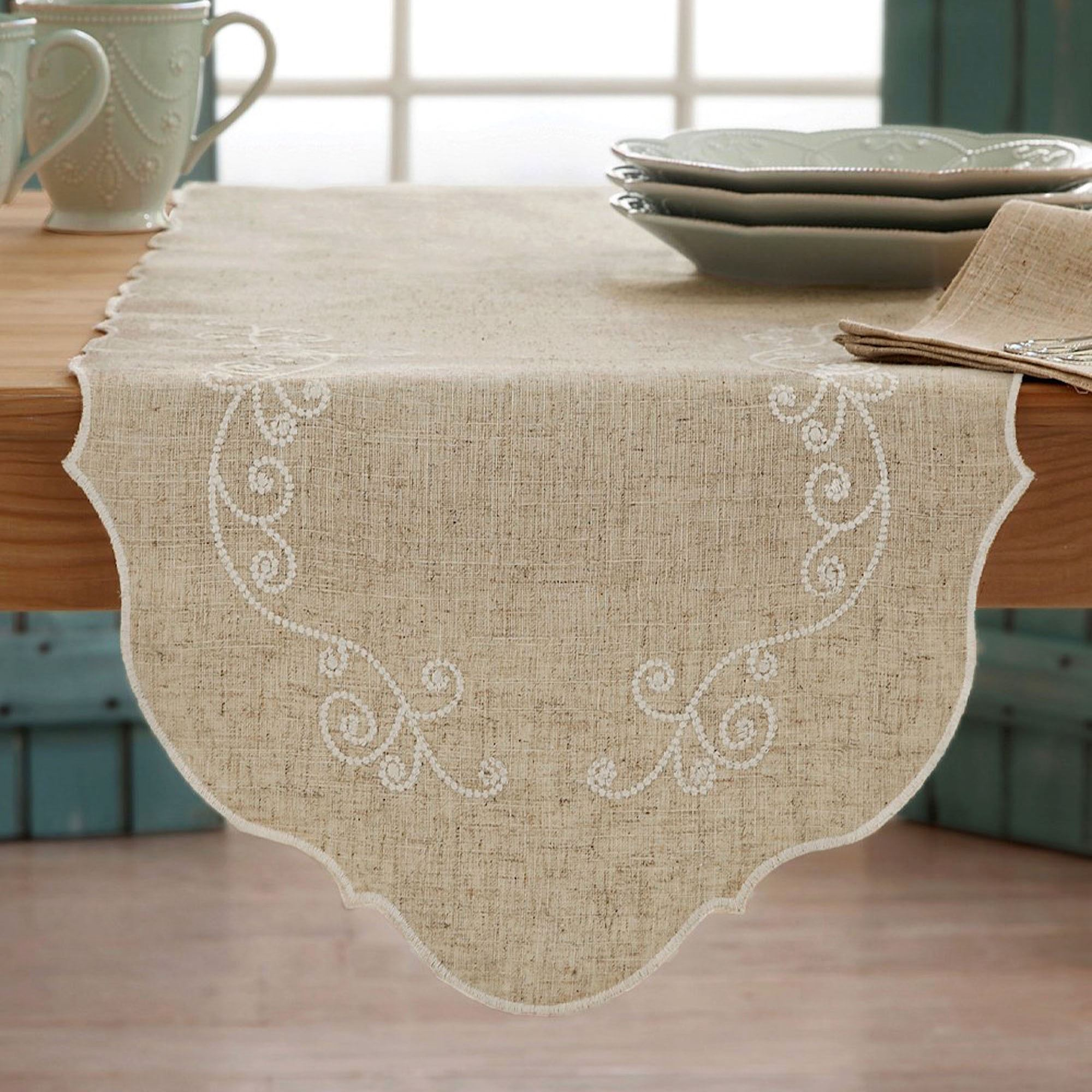 Lenox French Perle Embroidered Table Linens