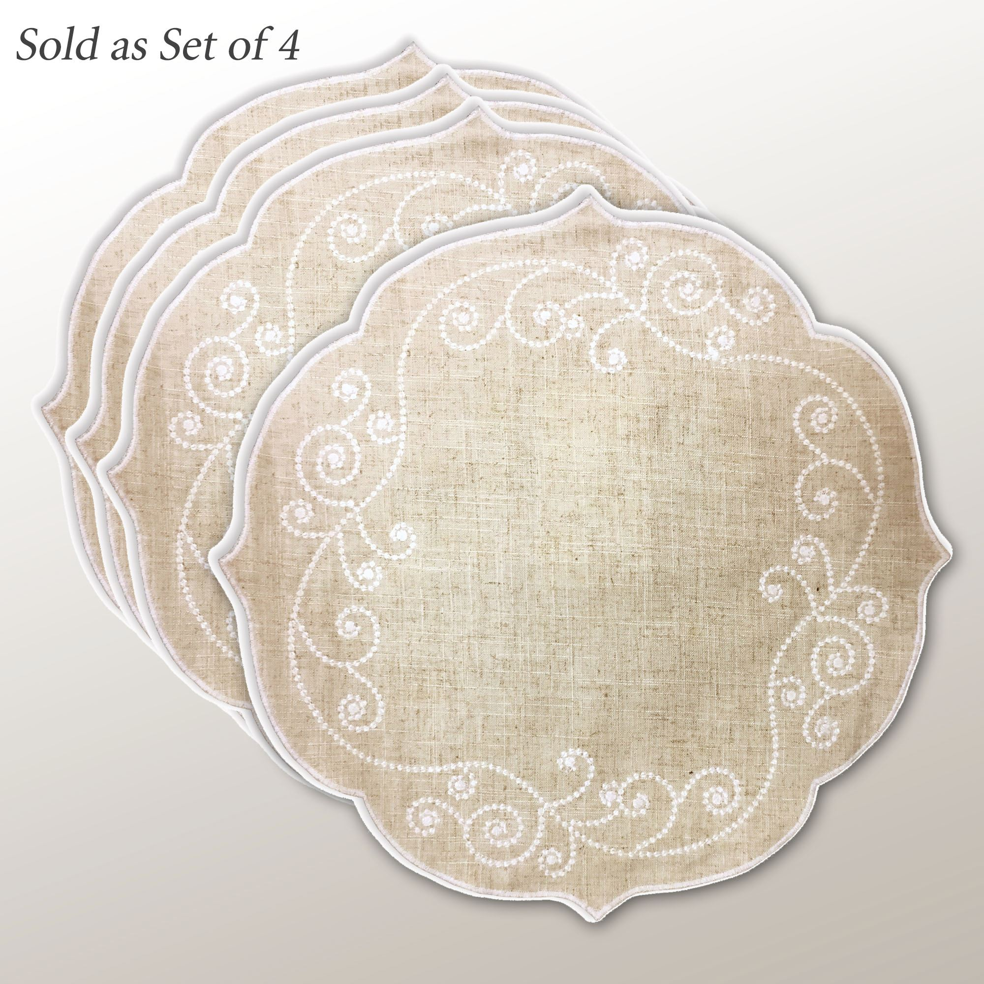 French Perle Embroidered Round Placemats Natural Set Of Four