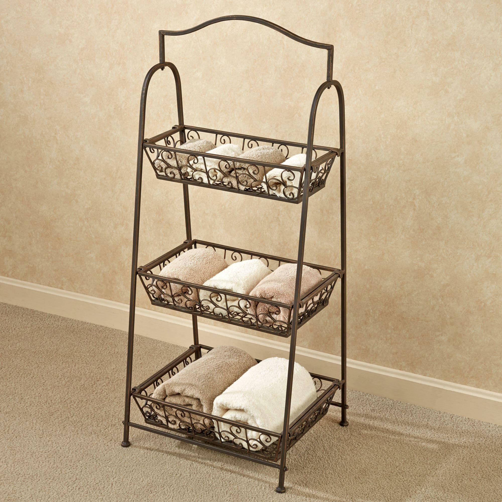 Attractive Bellini Wrought Iron Tiered Basket Storage Rack SK92
