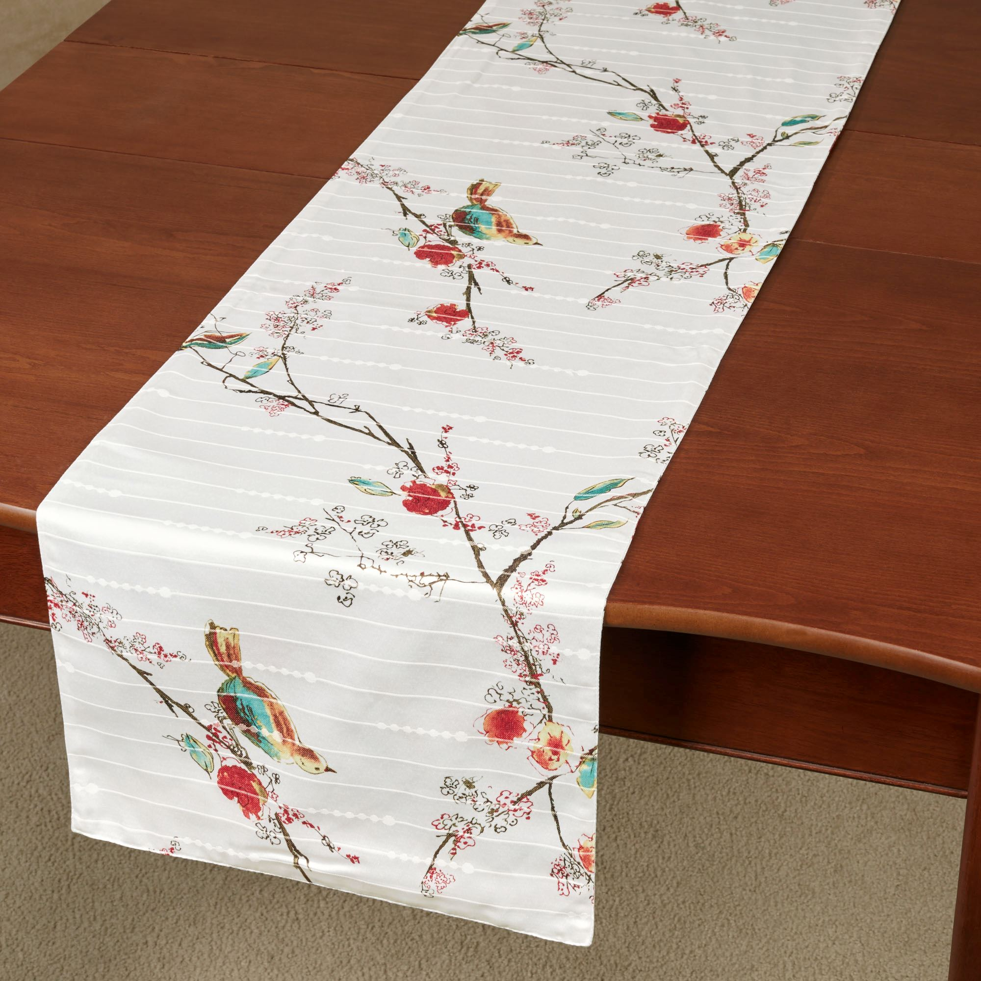 Chirp Table Runner Ivory 14 x 90 & Lenox Simply Fine Chirp Bird Pattern Placemat Set and Linens