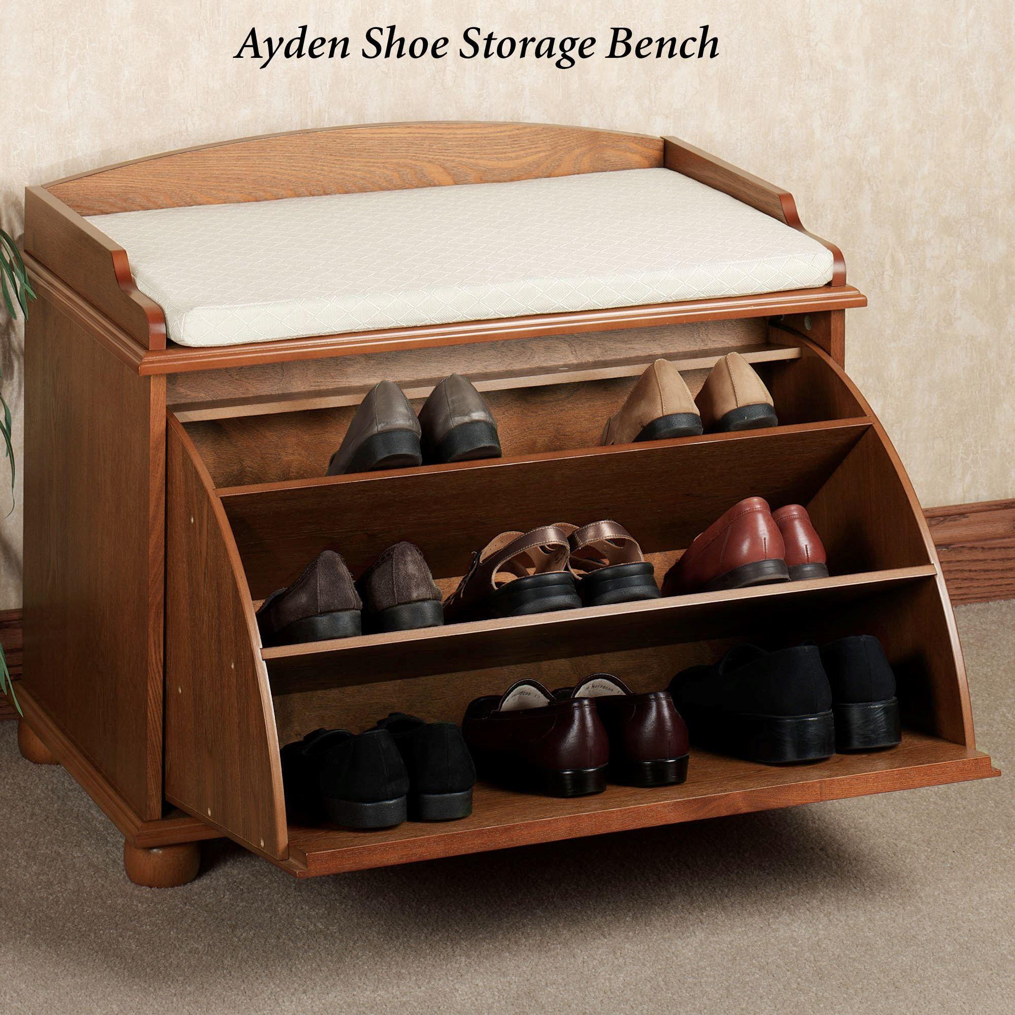 Amazing Aubrie Shoe Storage Bench Classic Cherry