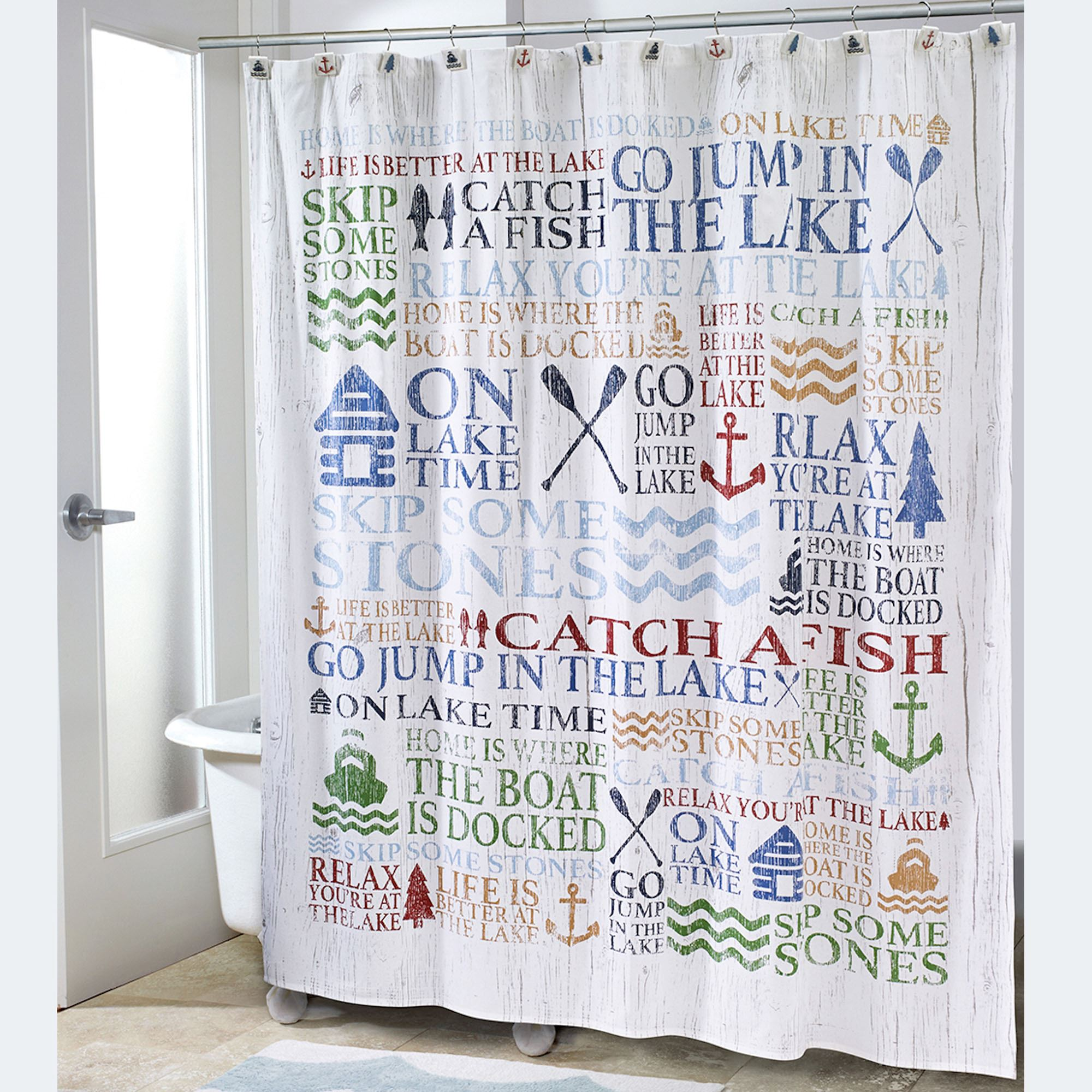 Lake Words Shower Curtain