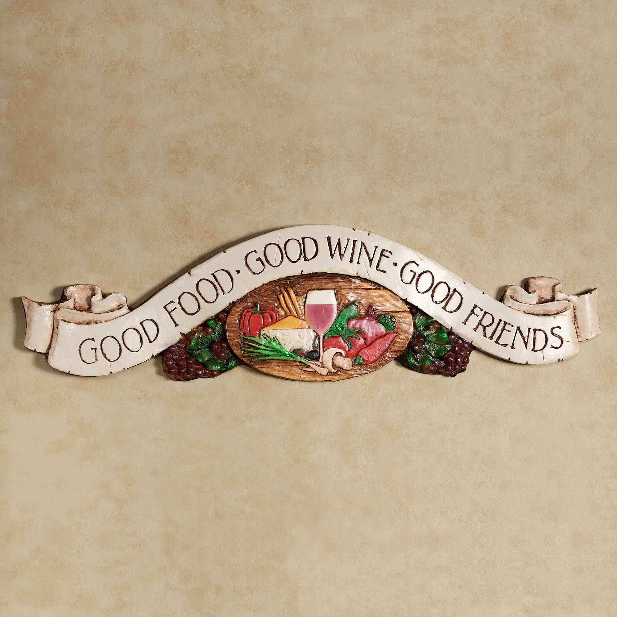 good food drinks friends wall plaque. Black Bedroom Furniture Sets. Home Design Ideas