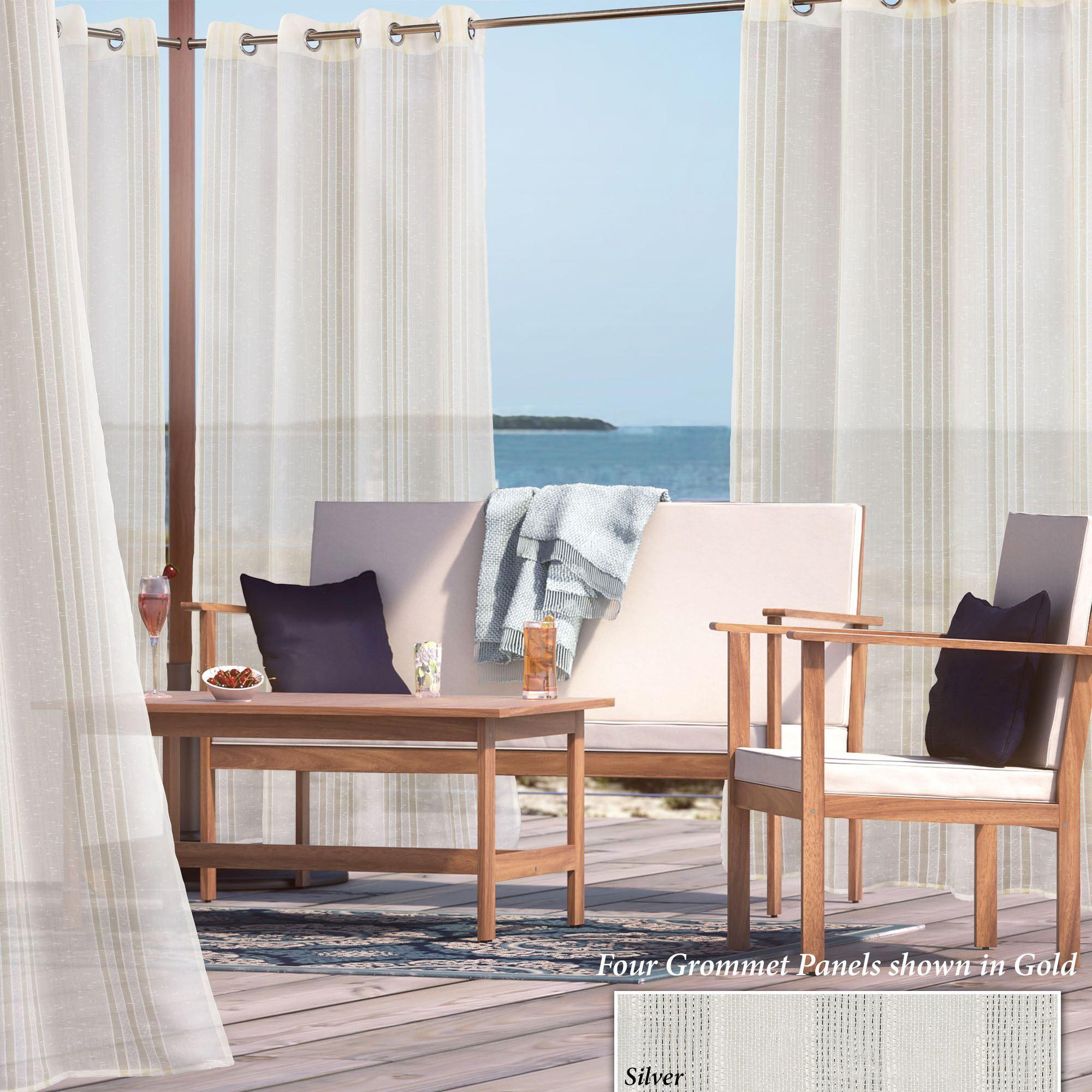 Audrina Metallic Striped Sheer Indoor Outdoor Grommet Curtain Panel