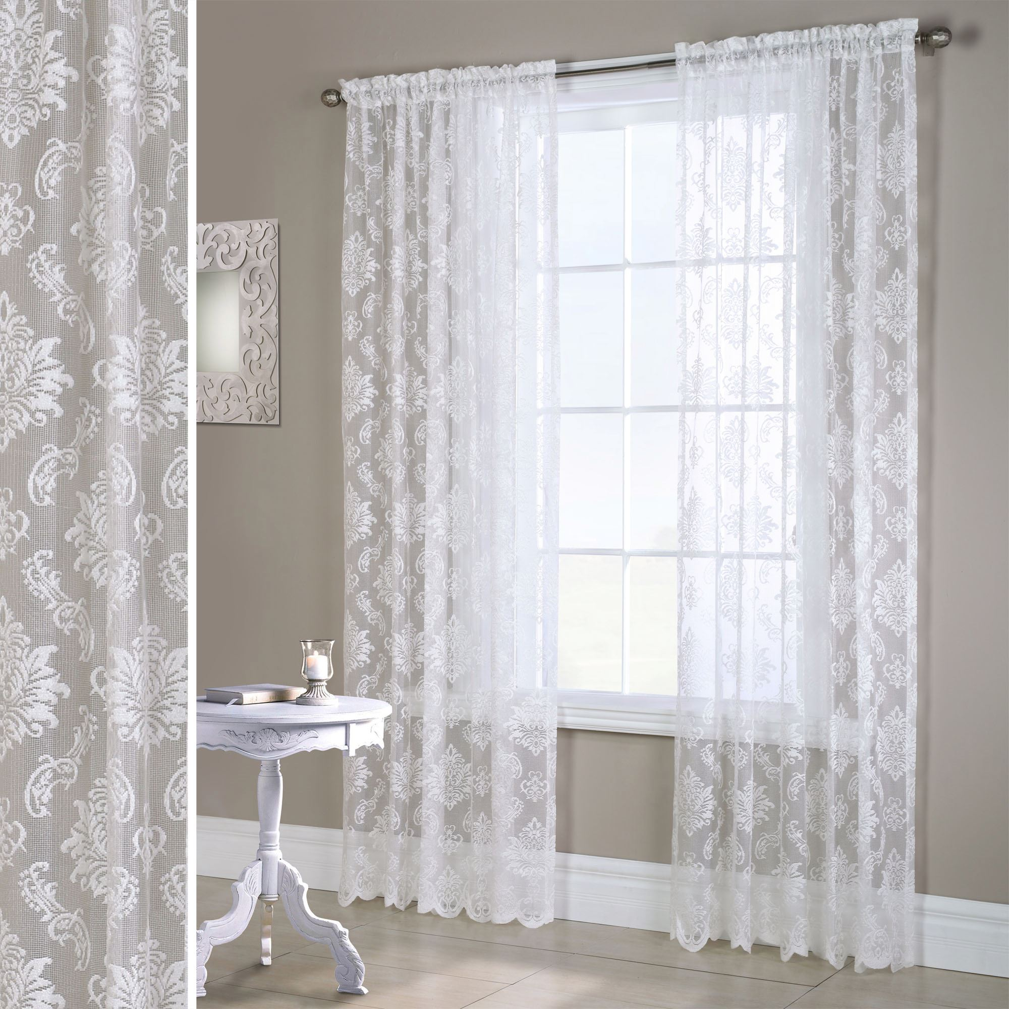 Elora White Heavyweight Lace Window Treatment