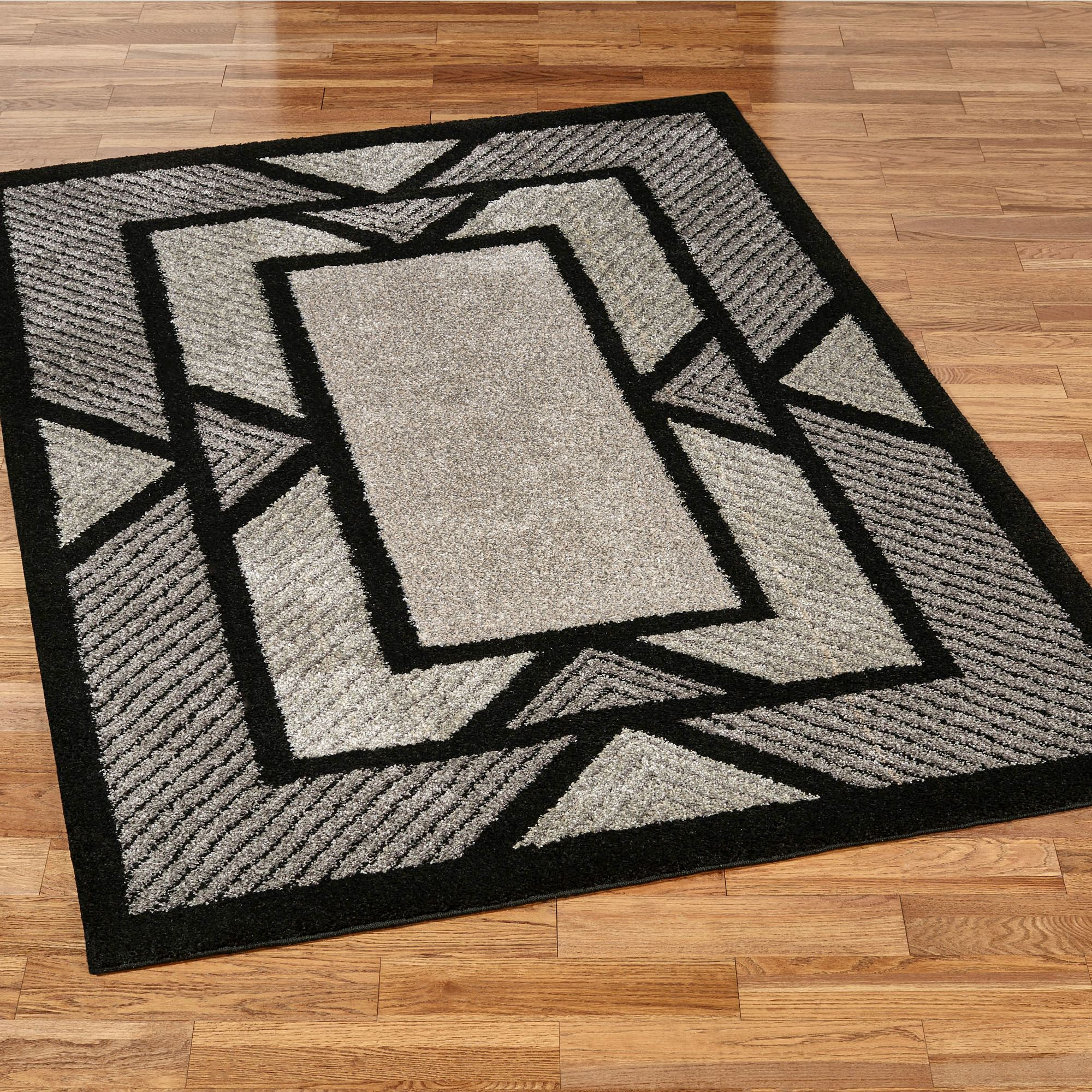 Well known Ternion Black Art Deco Shag Area Rugs FO53