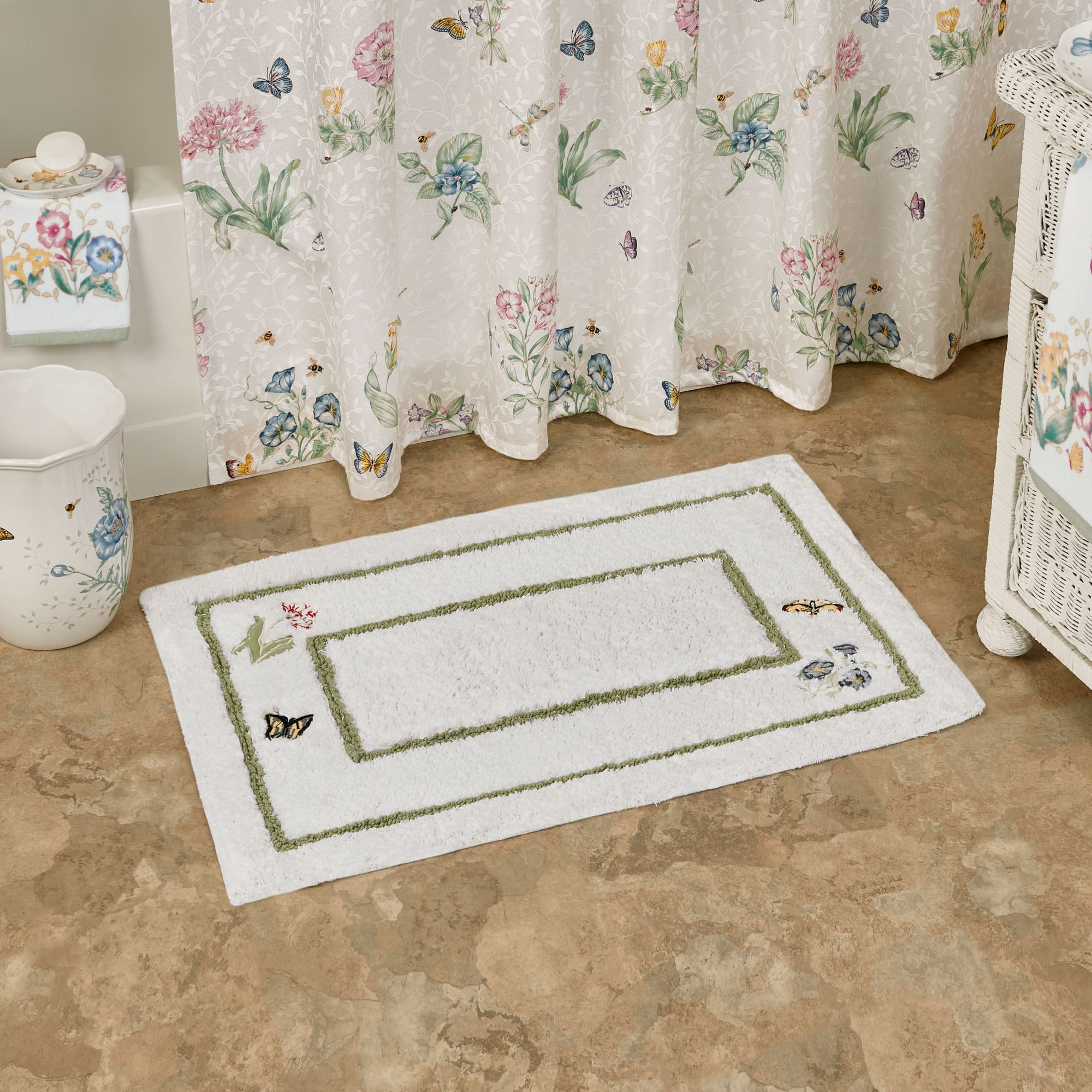 Lenox Butterfly Meadow Embroidered Bath Rug