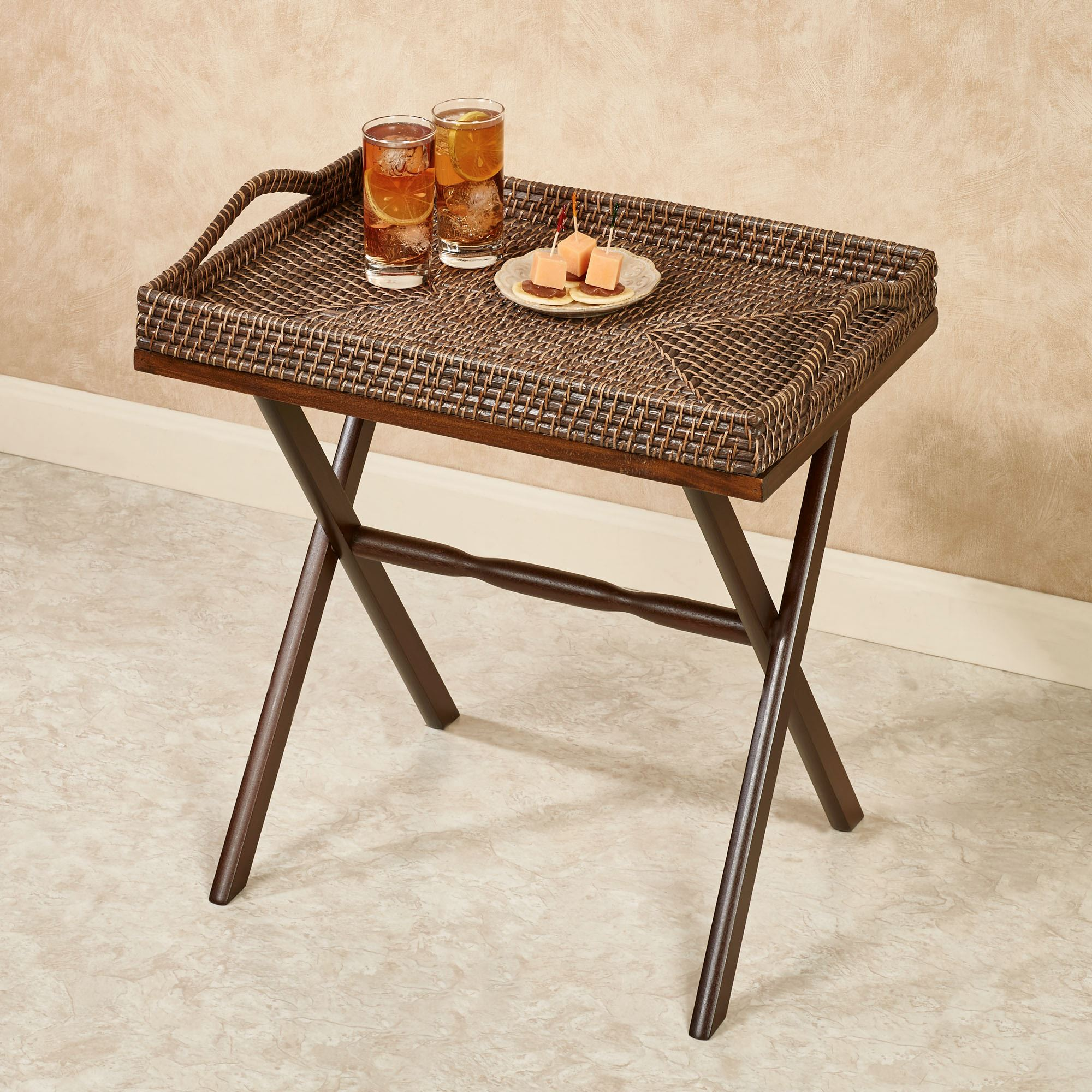 Porter Serving Tray With Stand Rich Mahogany