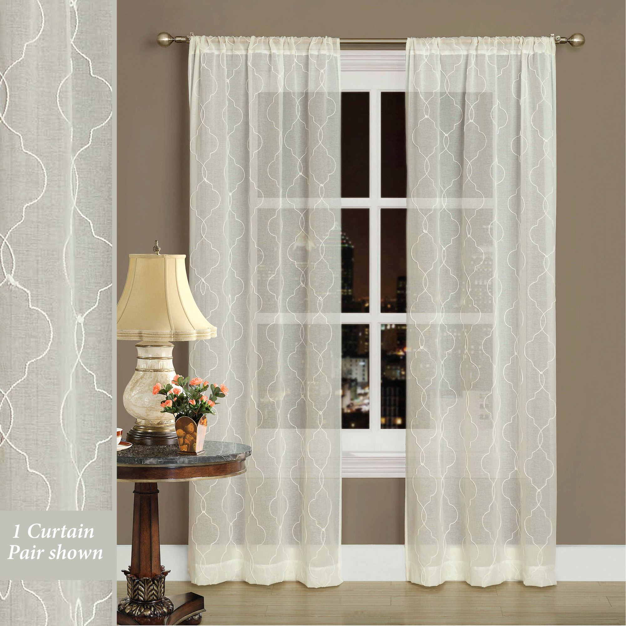 Audrey Ivory Semi Sheer Curtains By Laura Ashley
