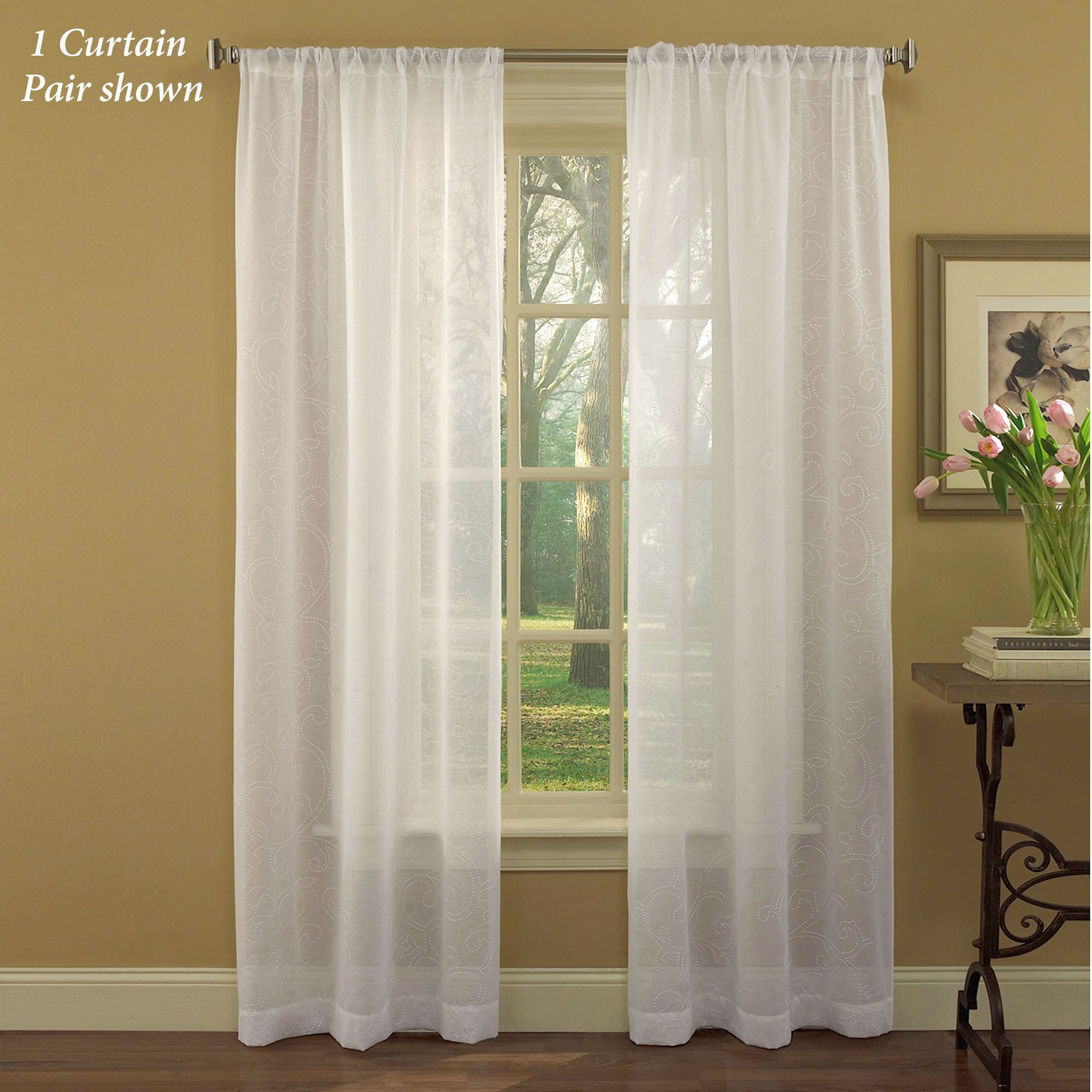 Diane Embroidered Sheer White Curtains By Laura Ashley