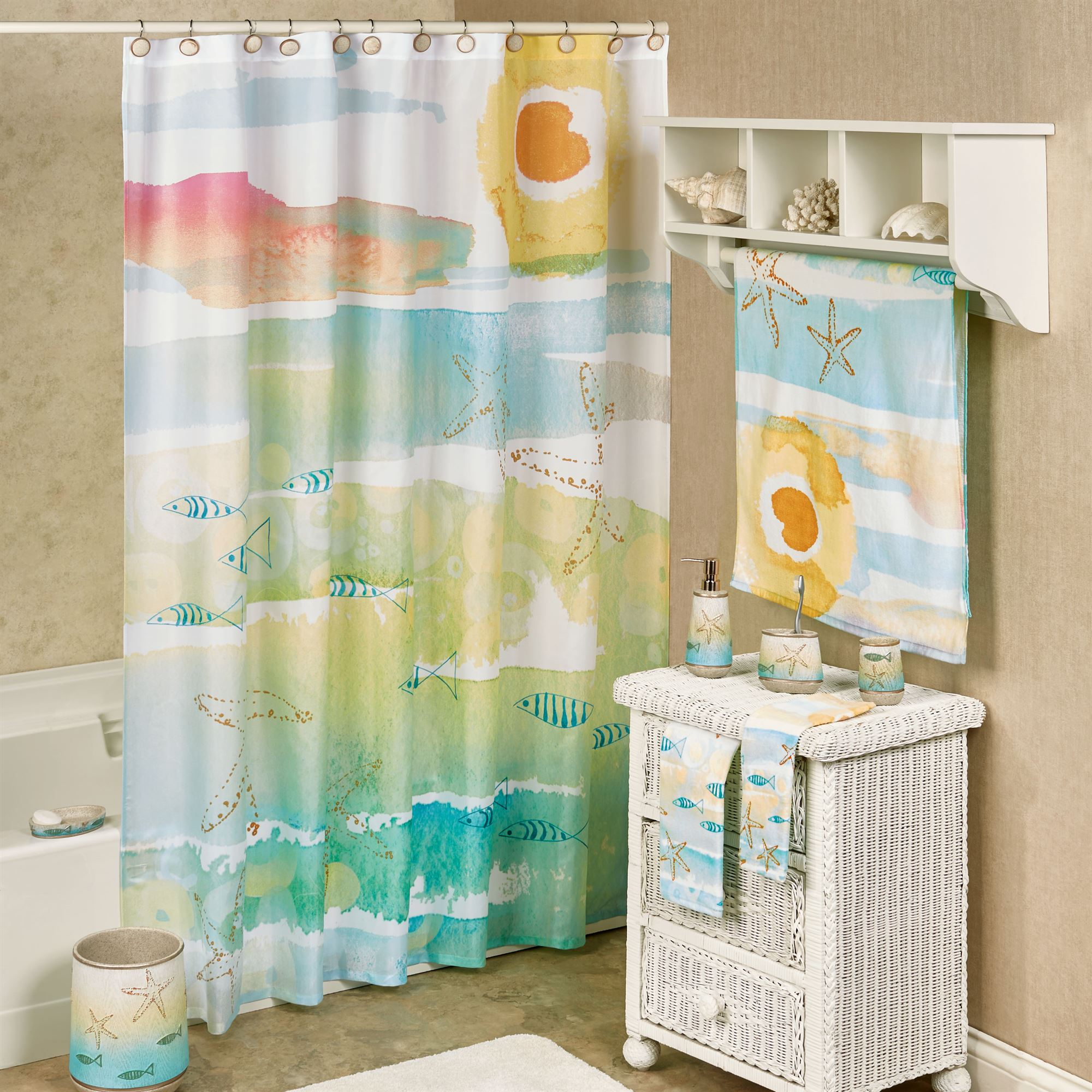 Beautiful By the Sea Watercolor Coastal Shower Curtain SM34